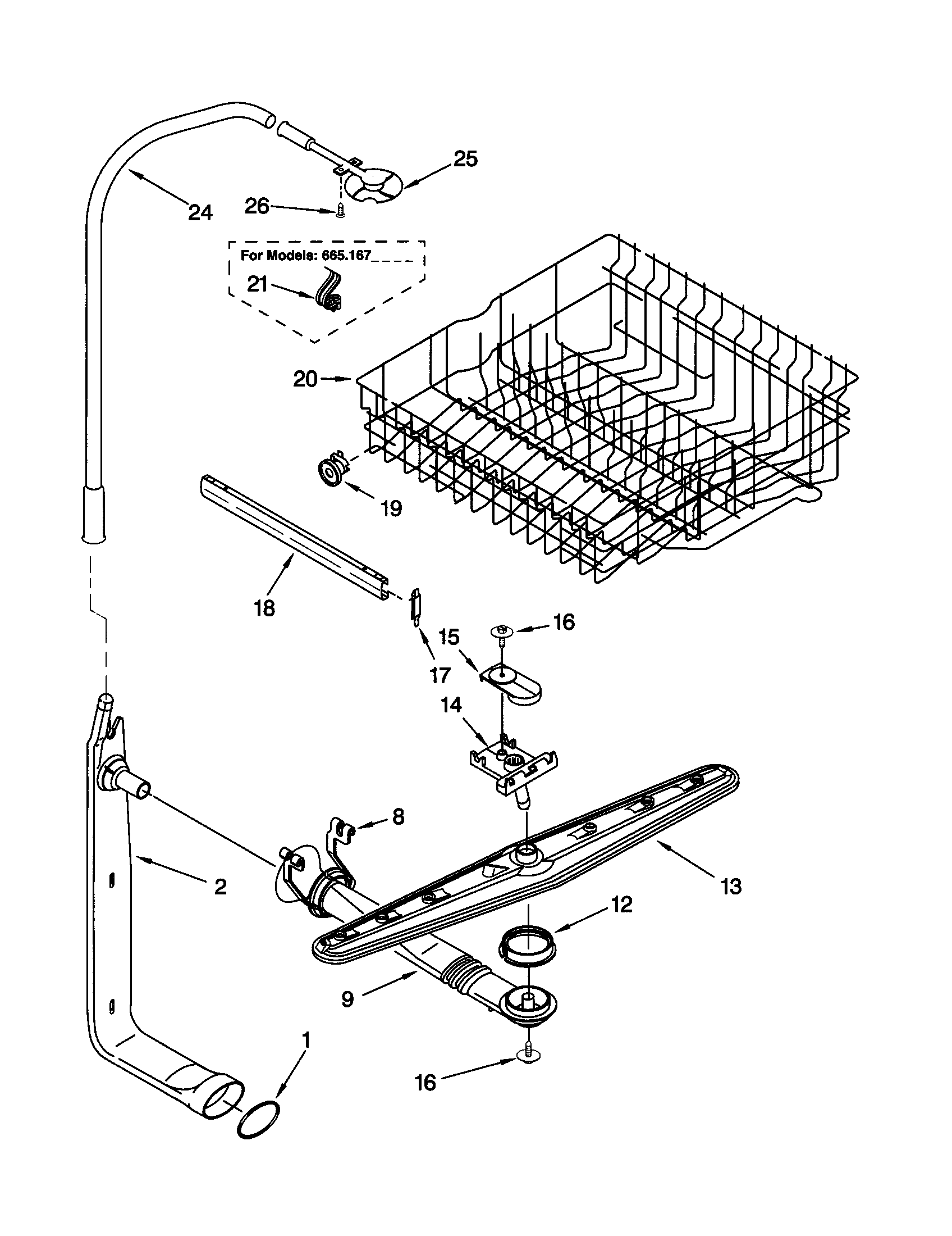 Kenmore model 66515632000 dishwasher genuine parts
