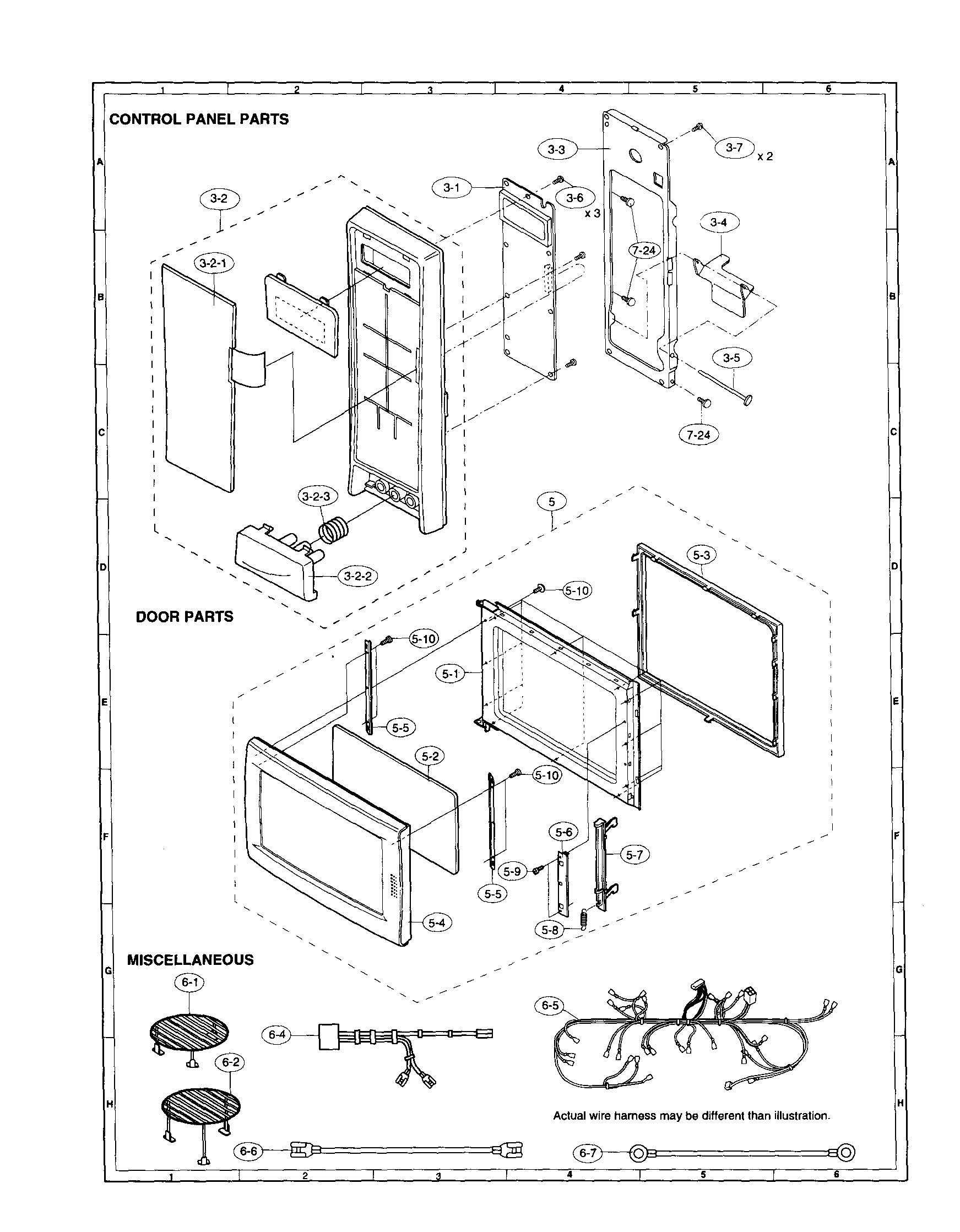 Sharp model R-930AK countertop microwave genuine parts