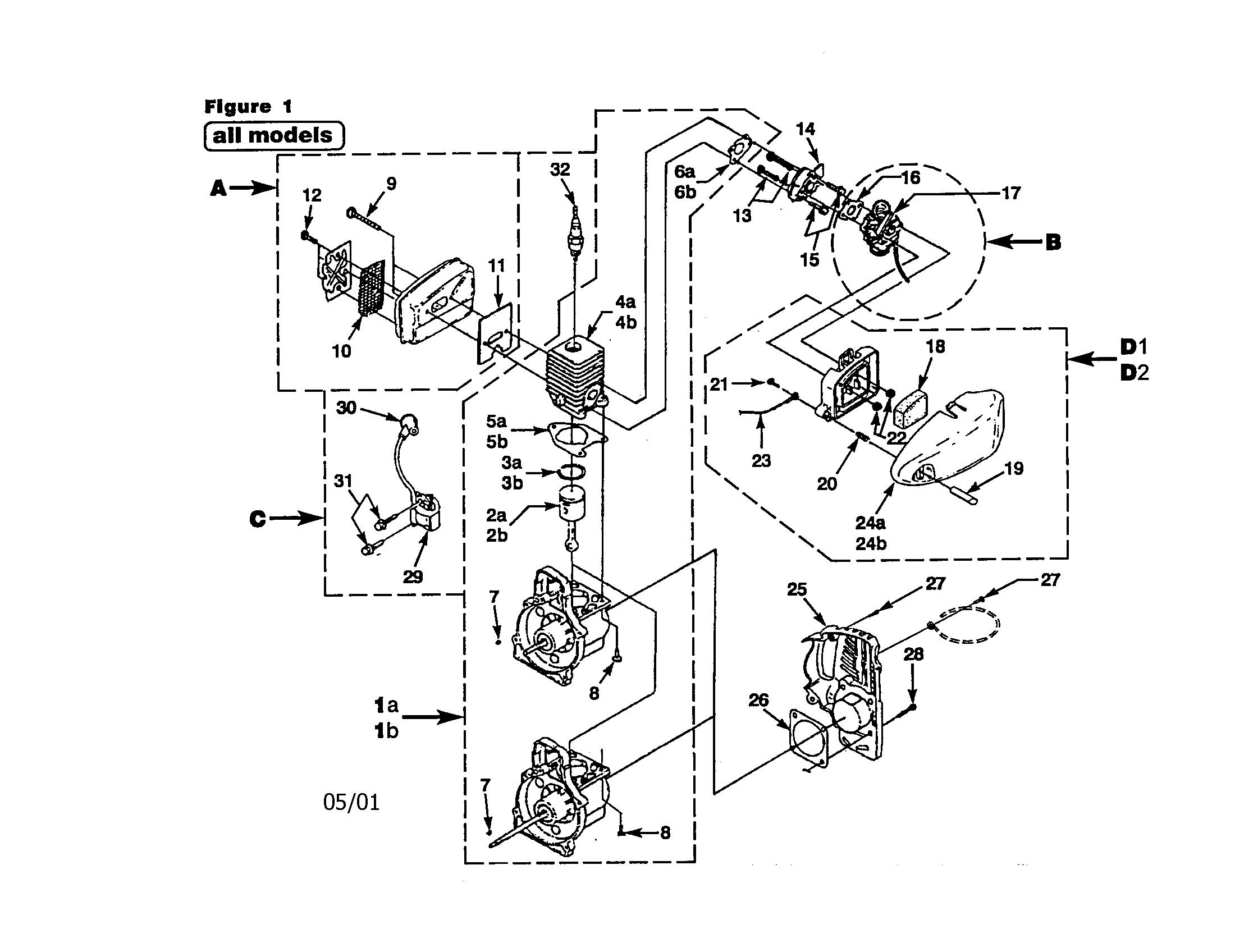 Homelite model UT20631 line trimmers/weedwackers, gas
