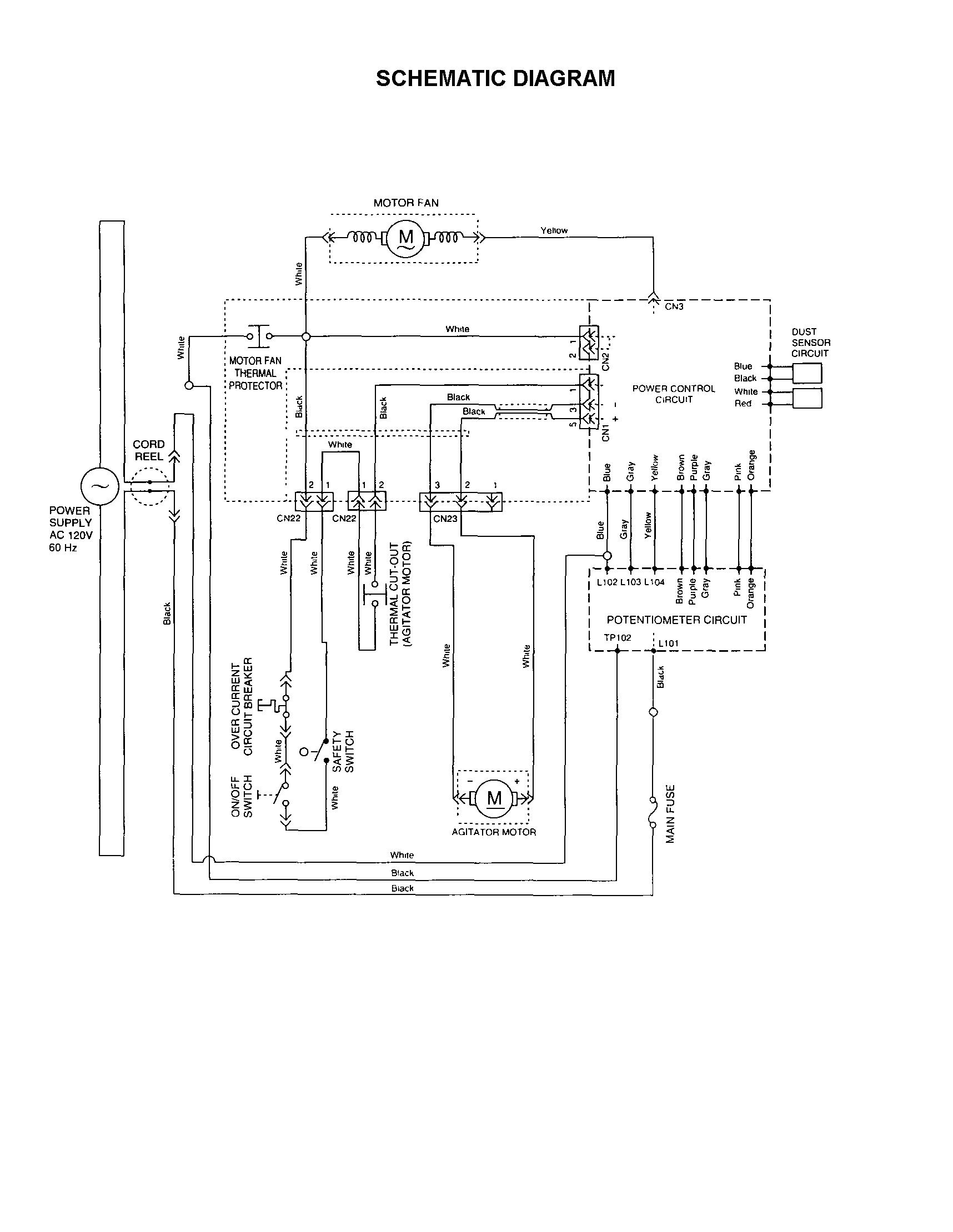 Panasonic model MC-E583 vacuum, upright genuine parts