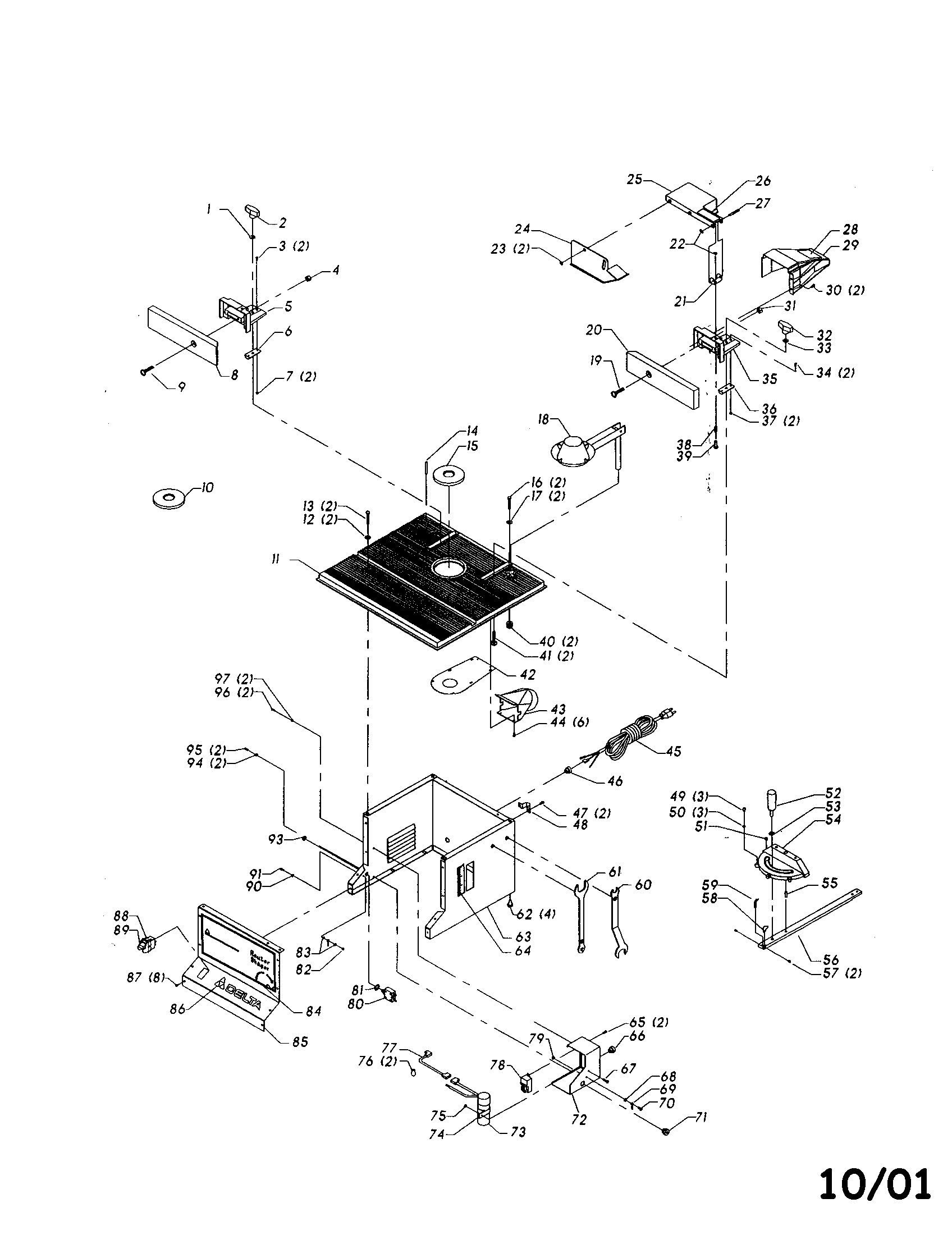 Delta model 43-505 router genuine parts