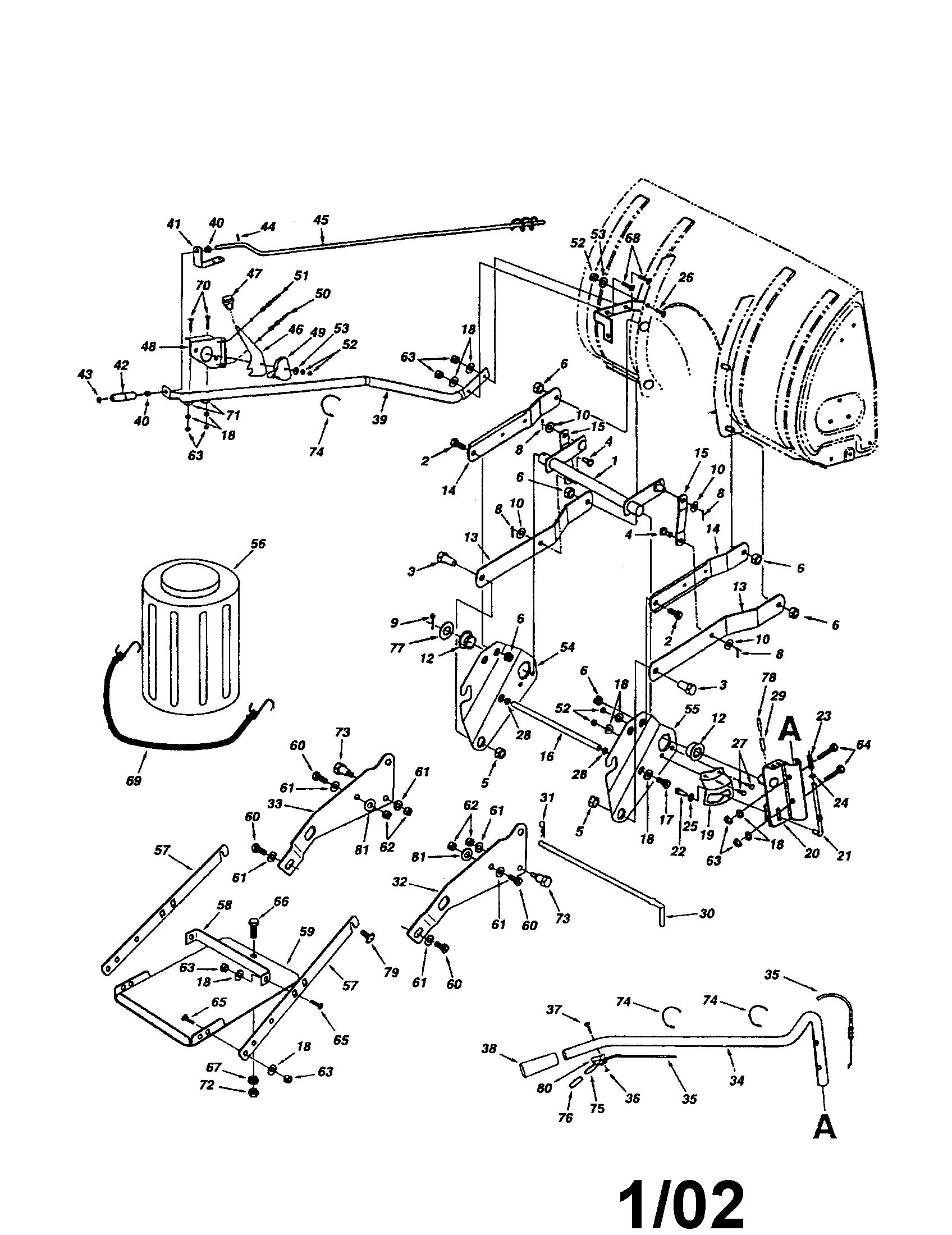 Craftsman model 48624839 snow thrower attachment genuine parts