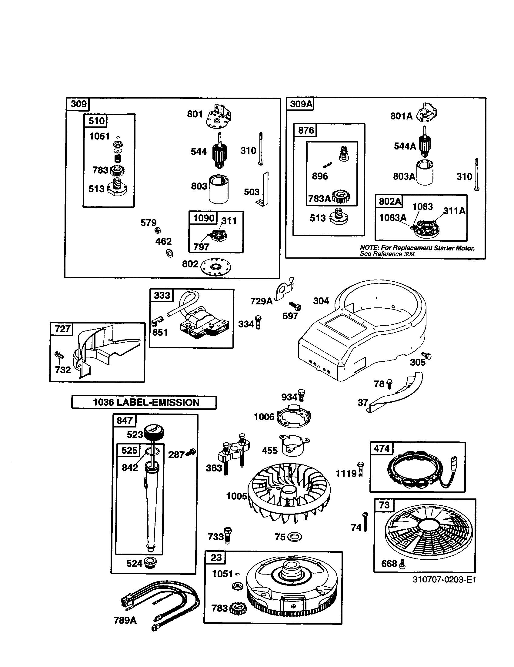 Briggs-Stratton model 310707-0203-E1 engine genuine parts