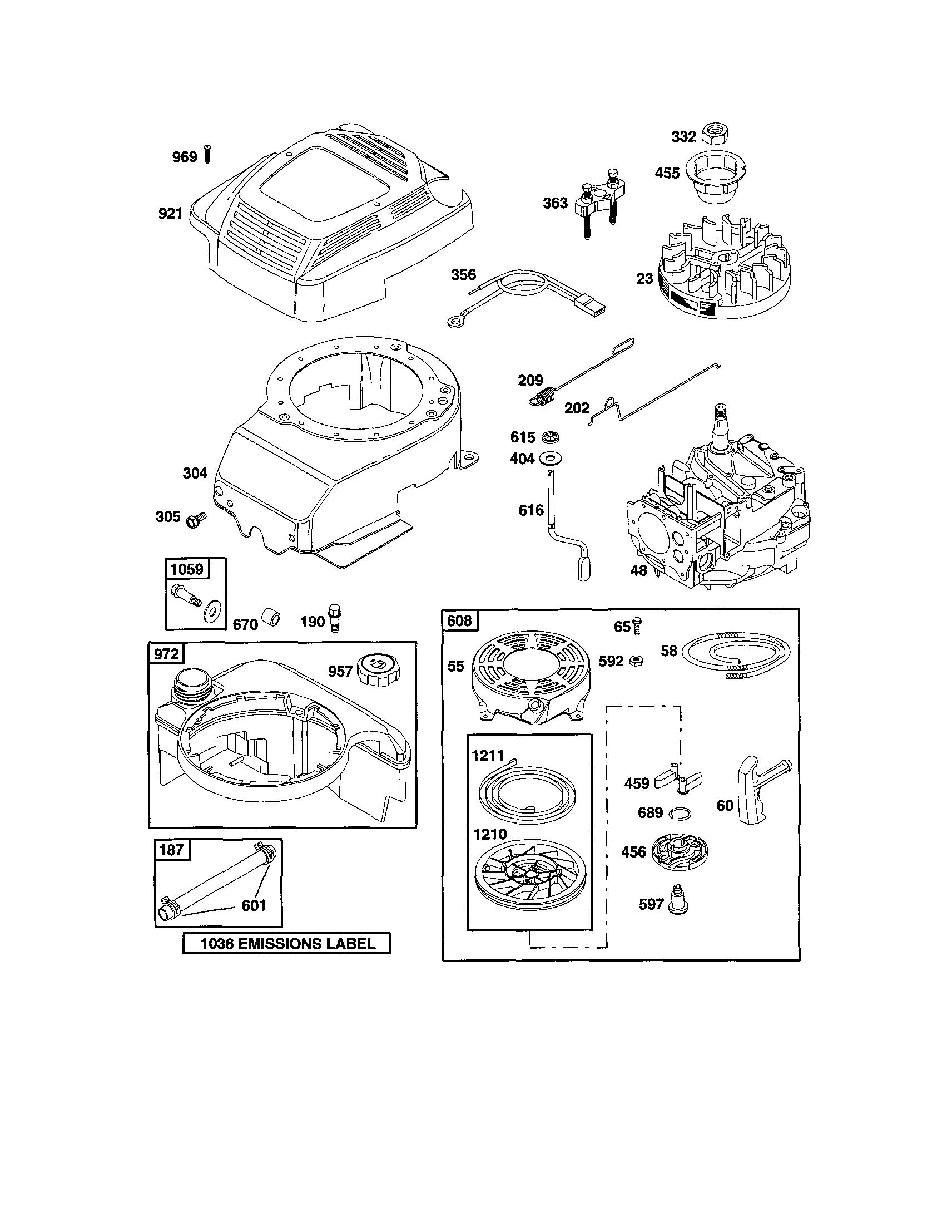 Briggs-Stratton model 12H802-2639-B1 engine genuine parts