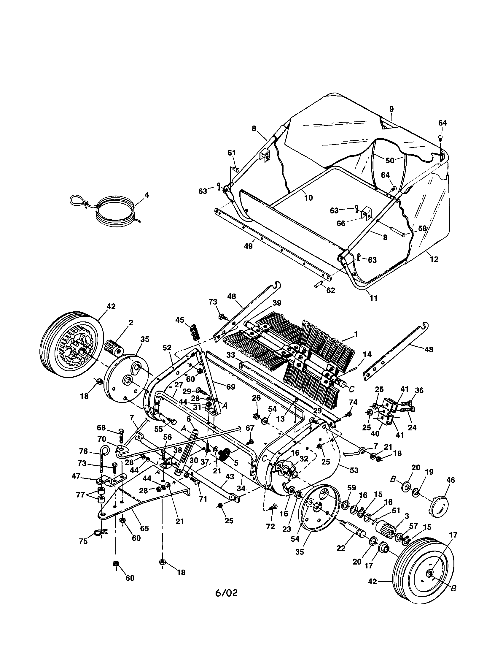 Craftsman model 486241322 lawn sweeper genuine parts