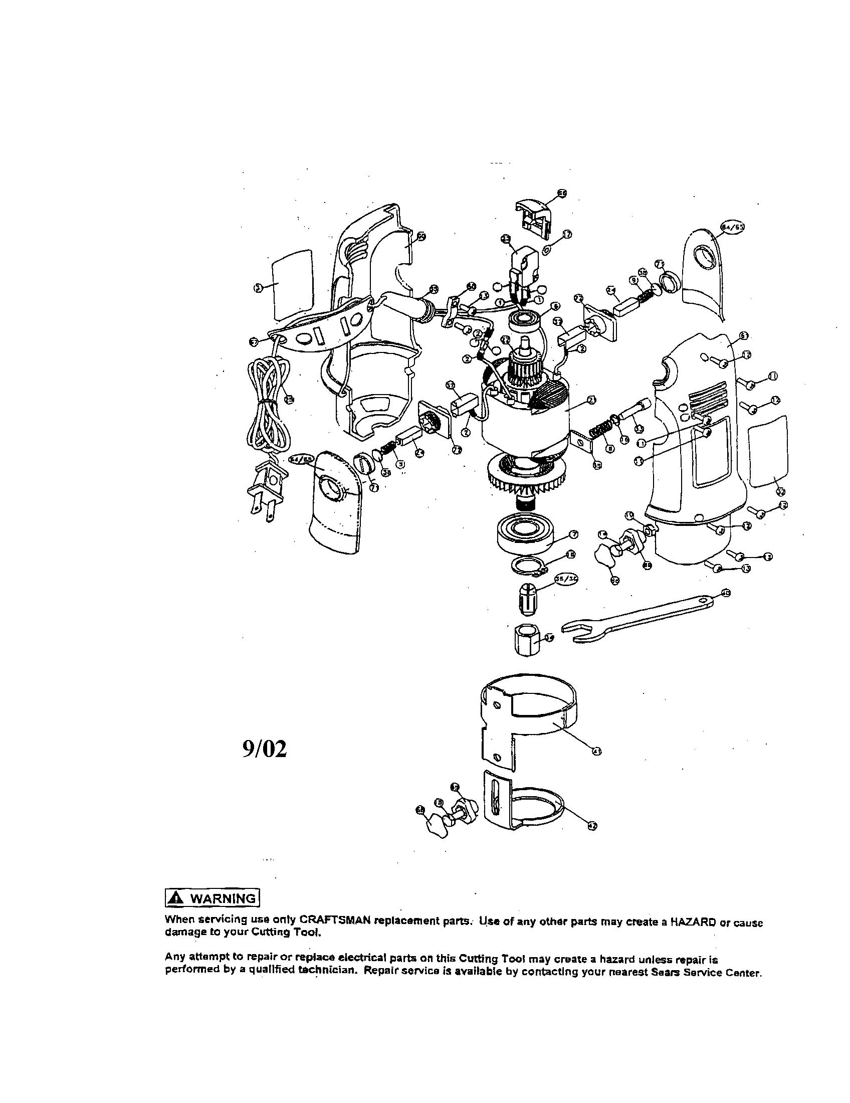Craftsman model 183172500 router genuine parts