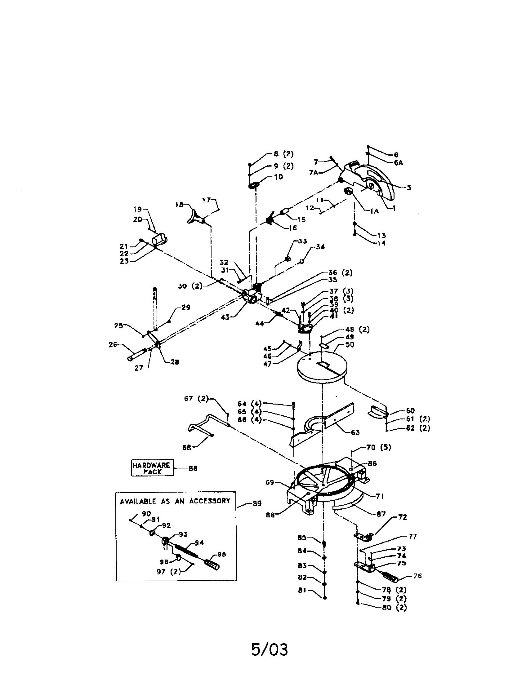 Delta model MS250 miter saw genuine parts