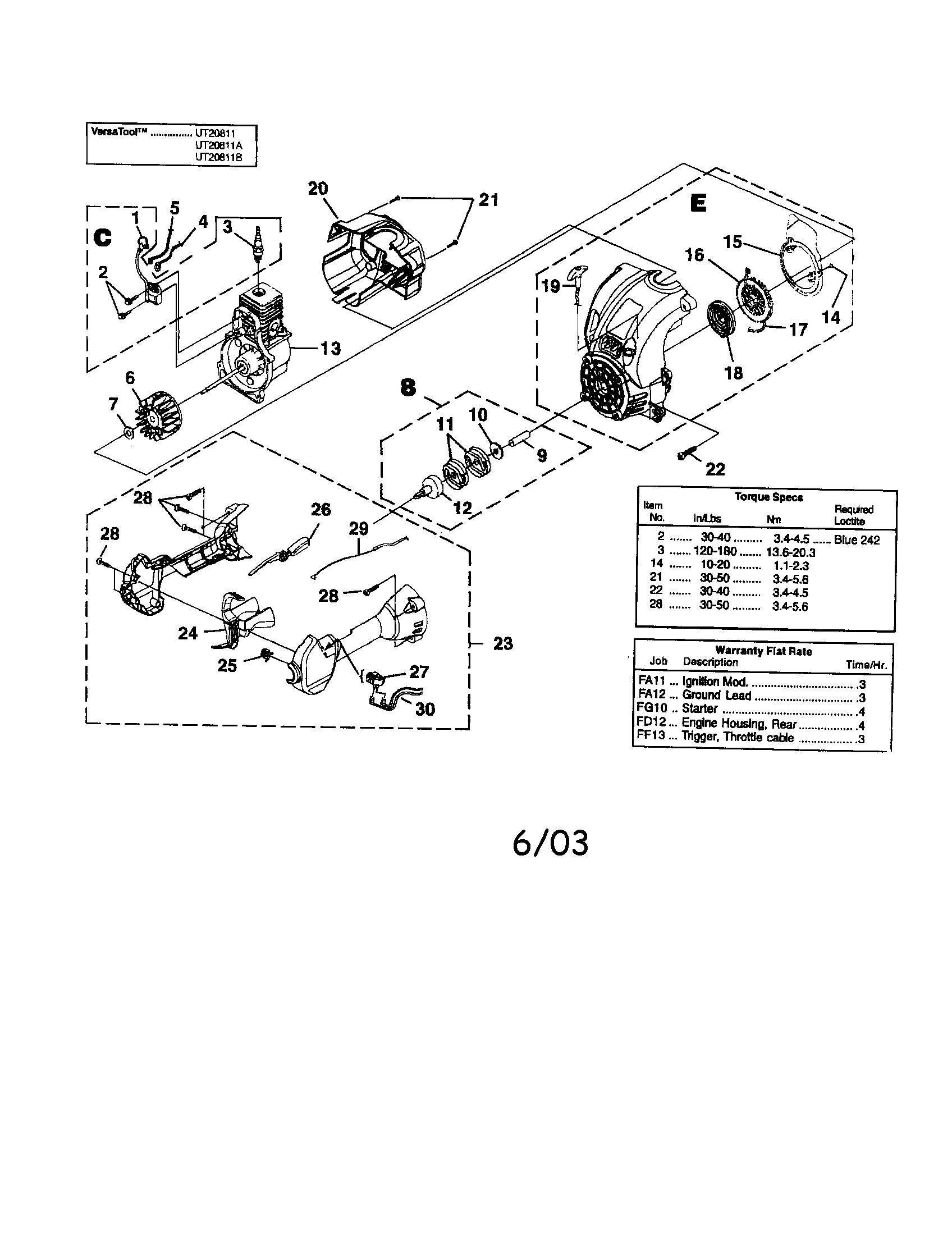 Homelite model UT20811 line trimmers/weedwackers, gas