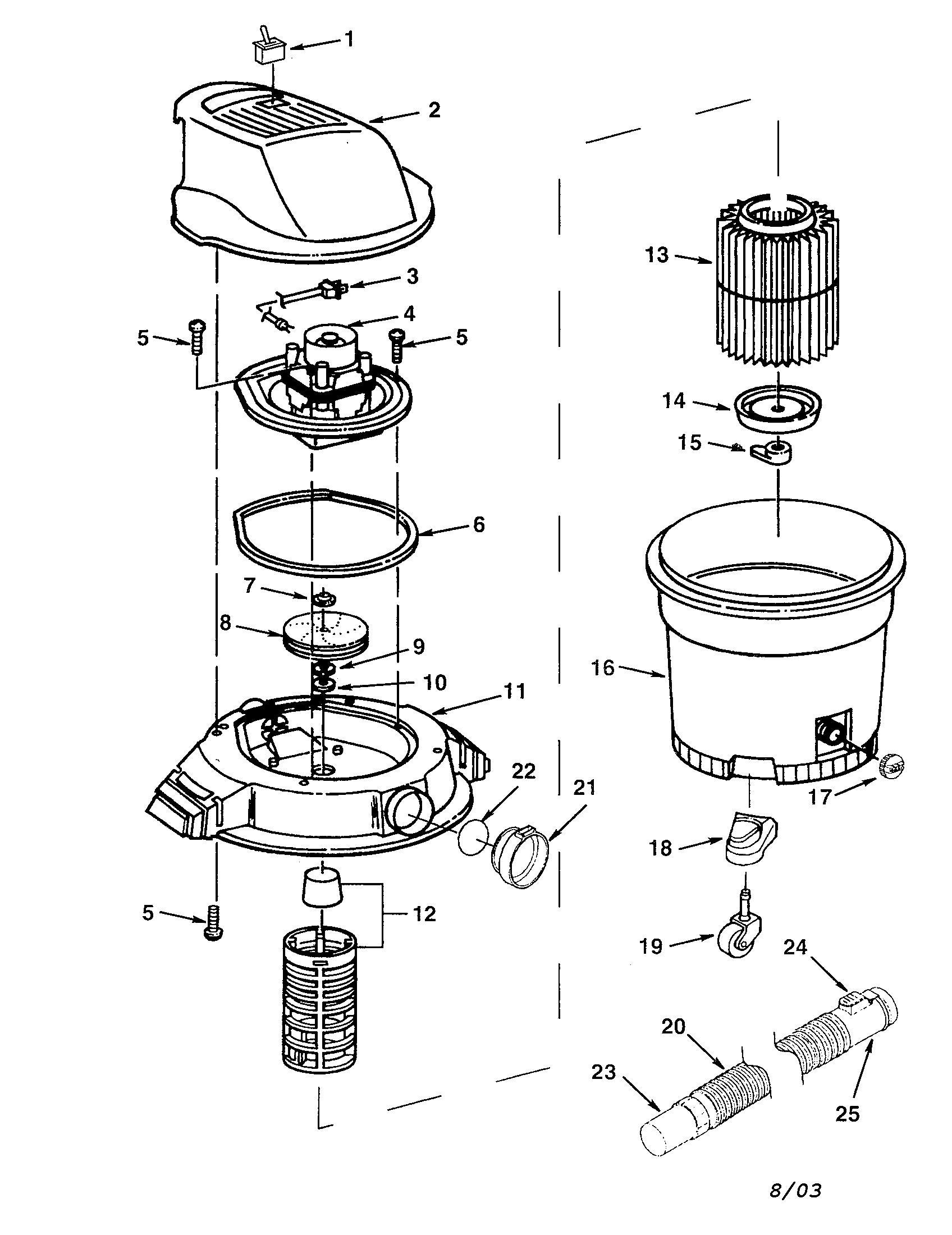 Craftsman model 113177920 wet/dry vacuum genuine parts