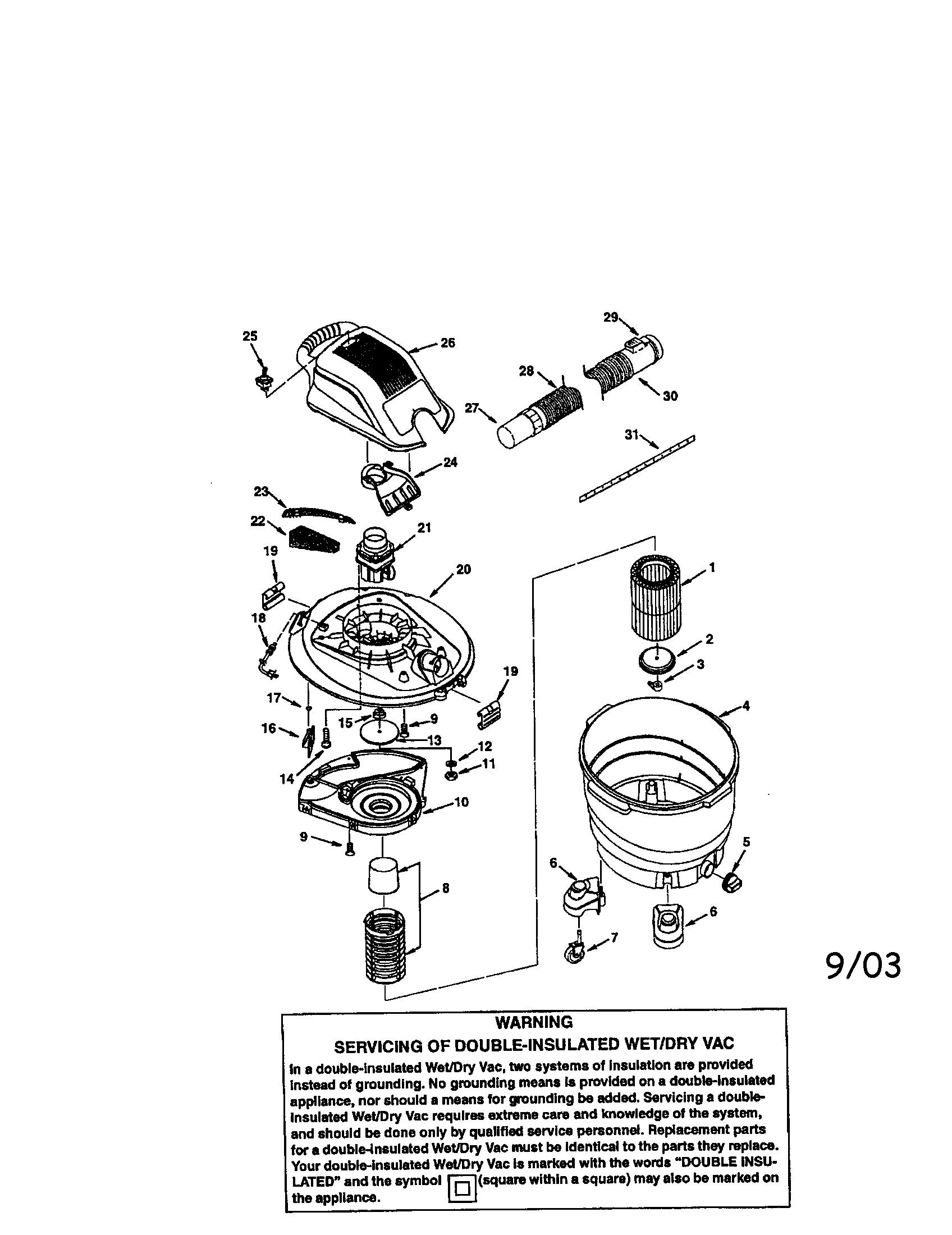Craftsman model 113170200 wet/dry vacuum genuine parts