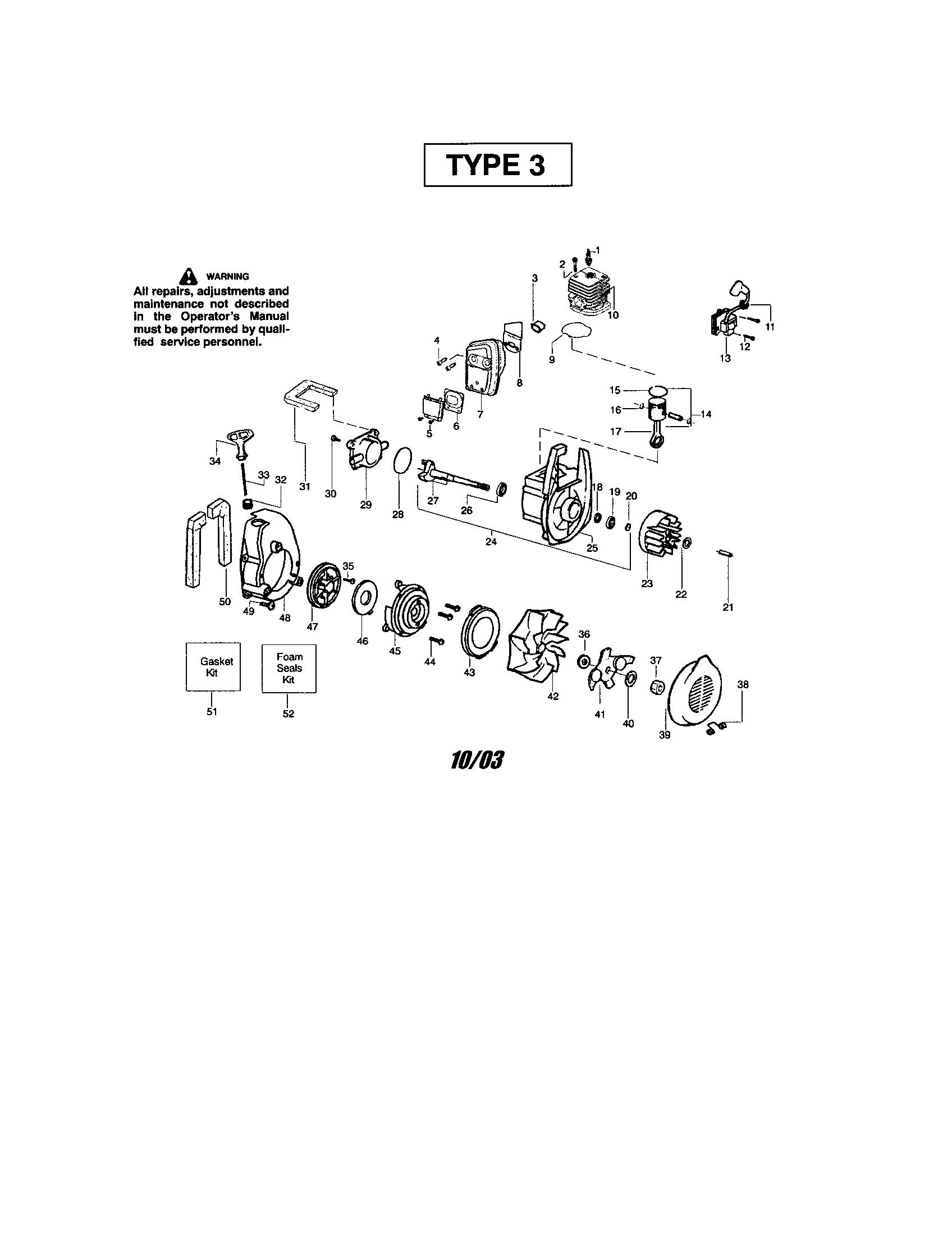 Weed-Eater model BV1650-TYPE 3 blower, gas genuine parts