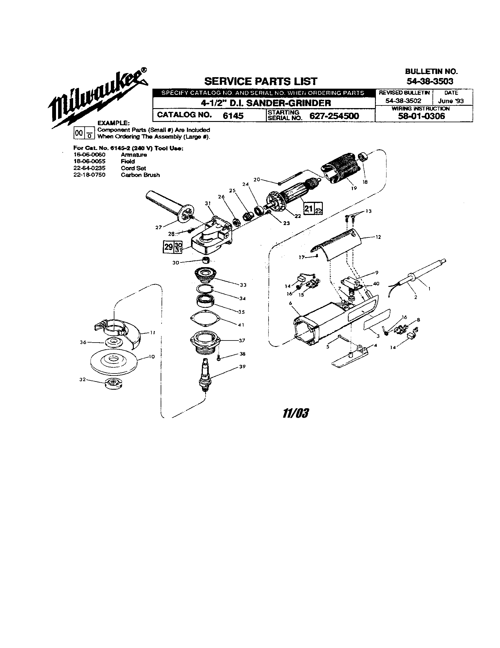Milwaukee model 6145 grinder angle genuine parts
