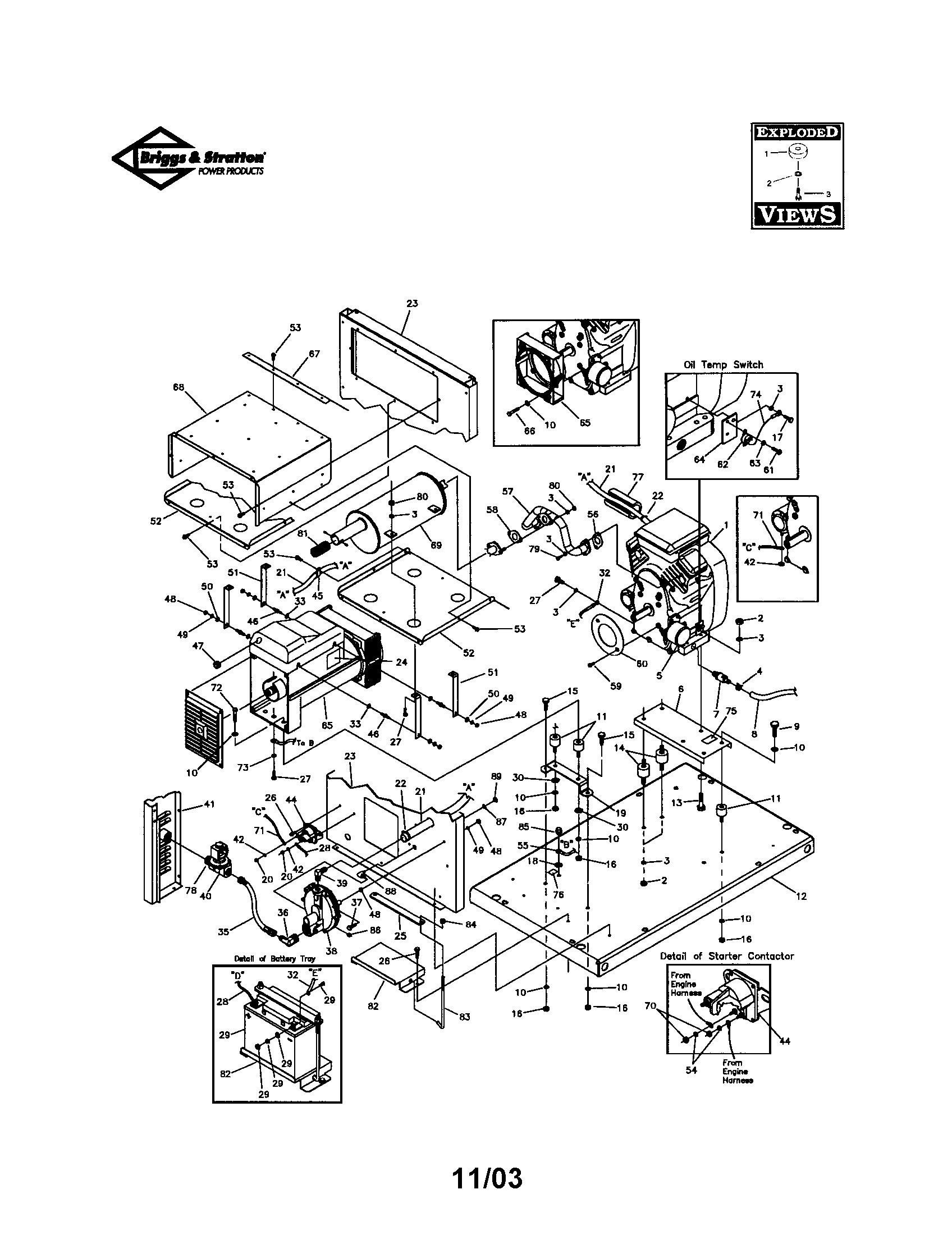 Briggs-Stratton model 01931-0 generator genuine parts