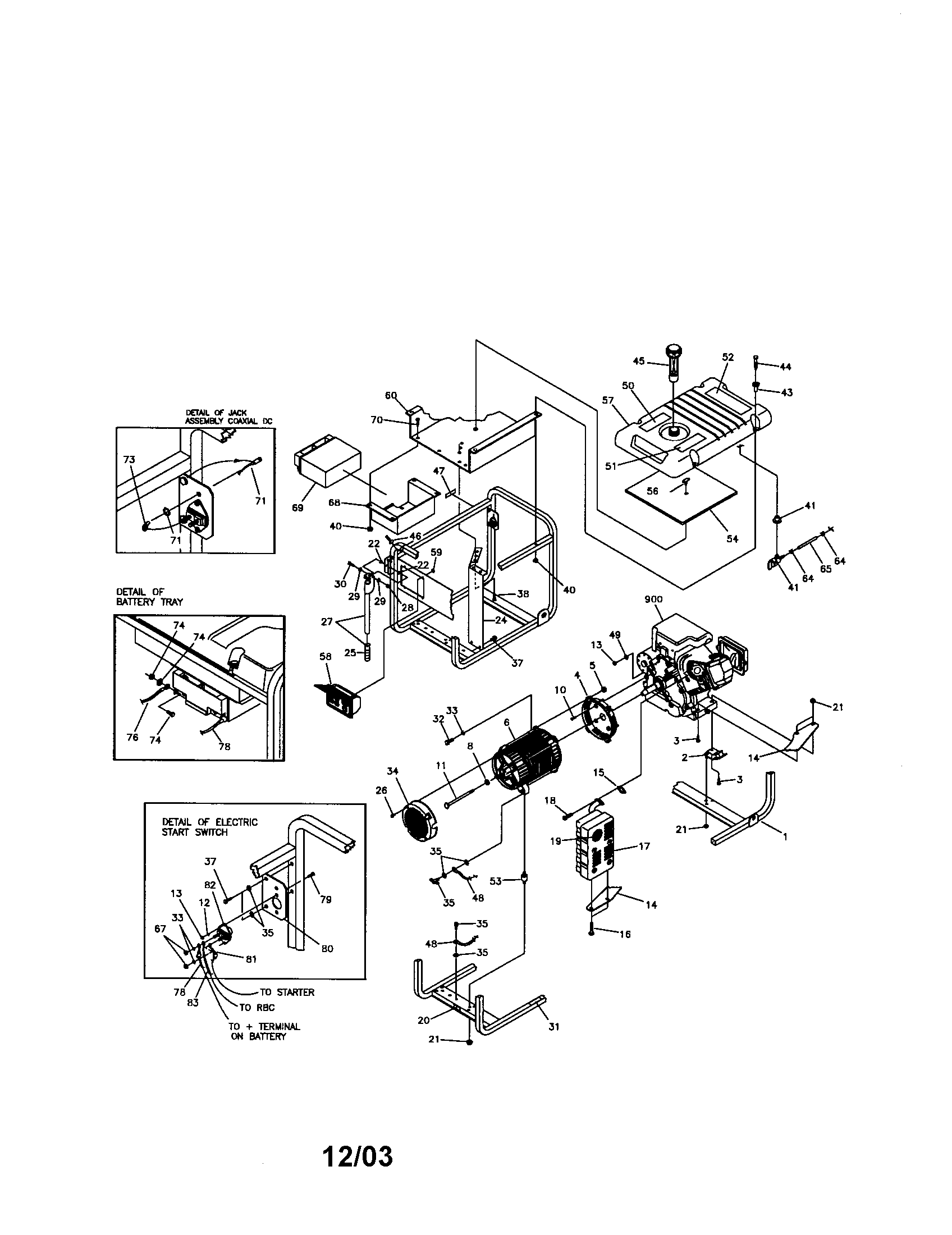 Briggs-Stratton model 01893 generator genuine parts