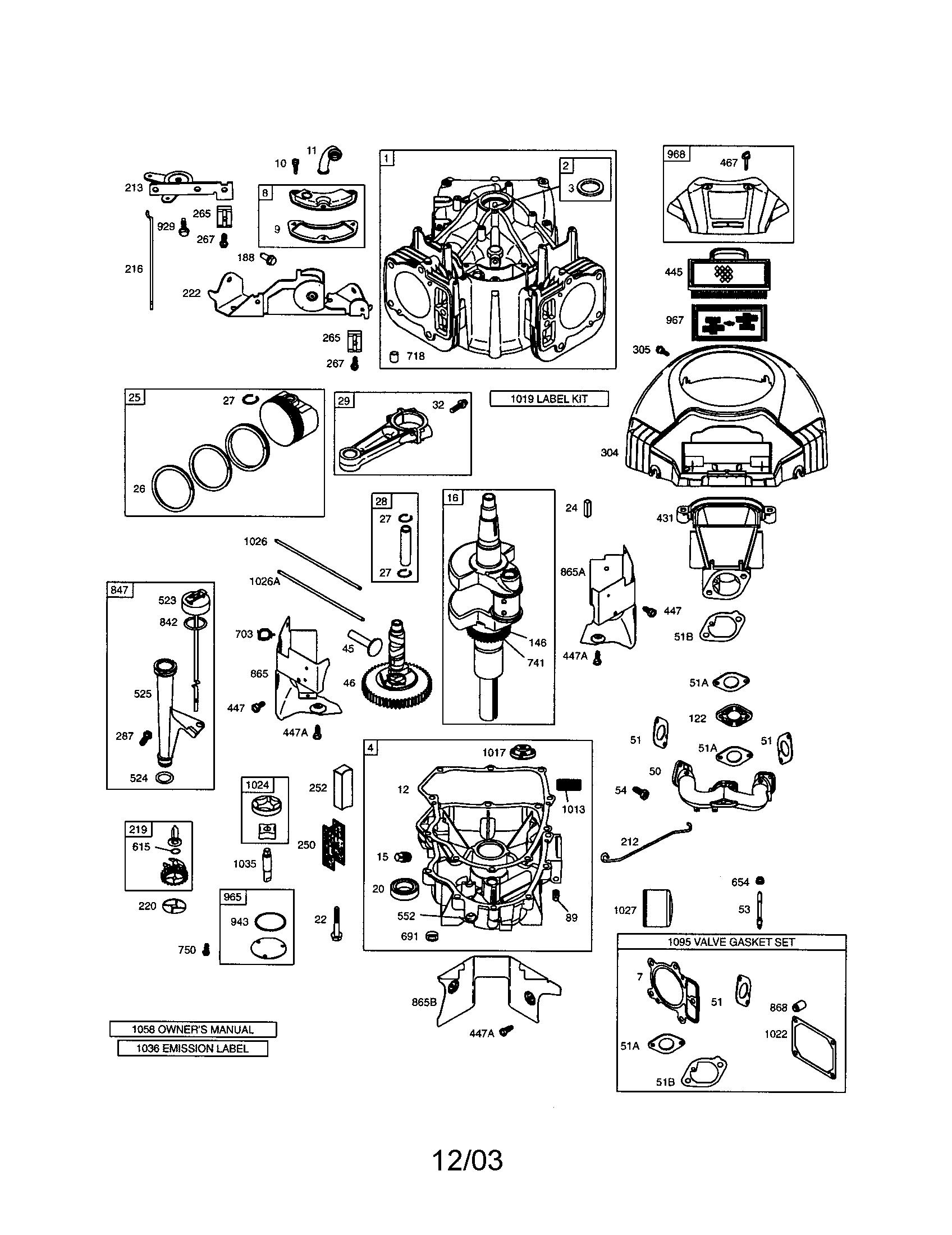 Briggs-Stratton model 407577-0283-E1 engine genuine parts