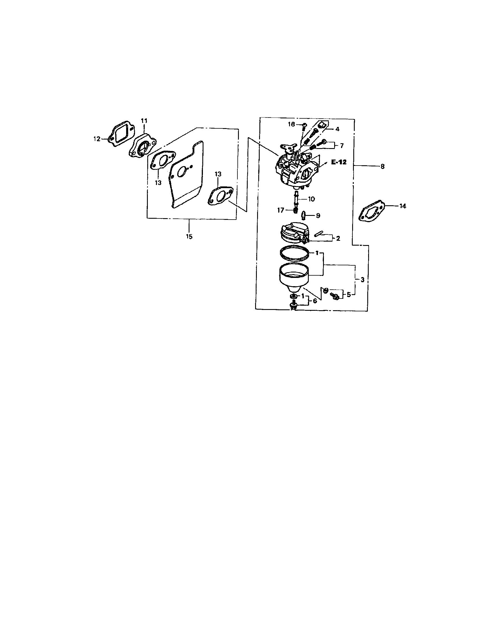 Honda model GCV-190-AS3A engine genuine parts