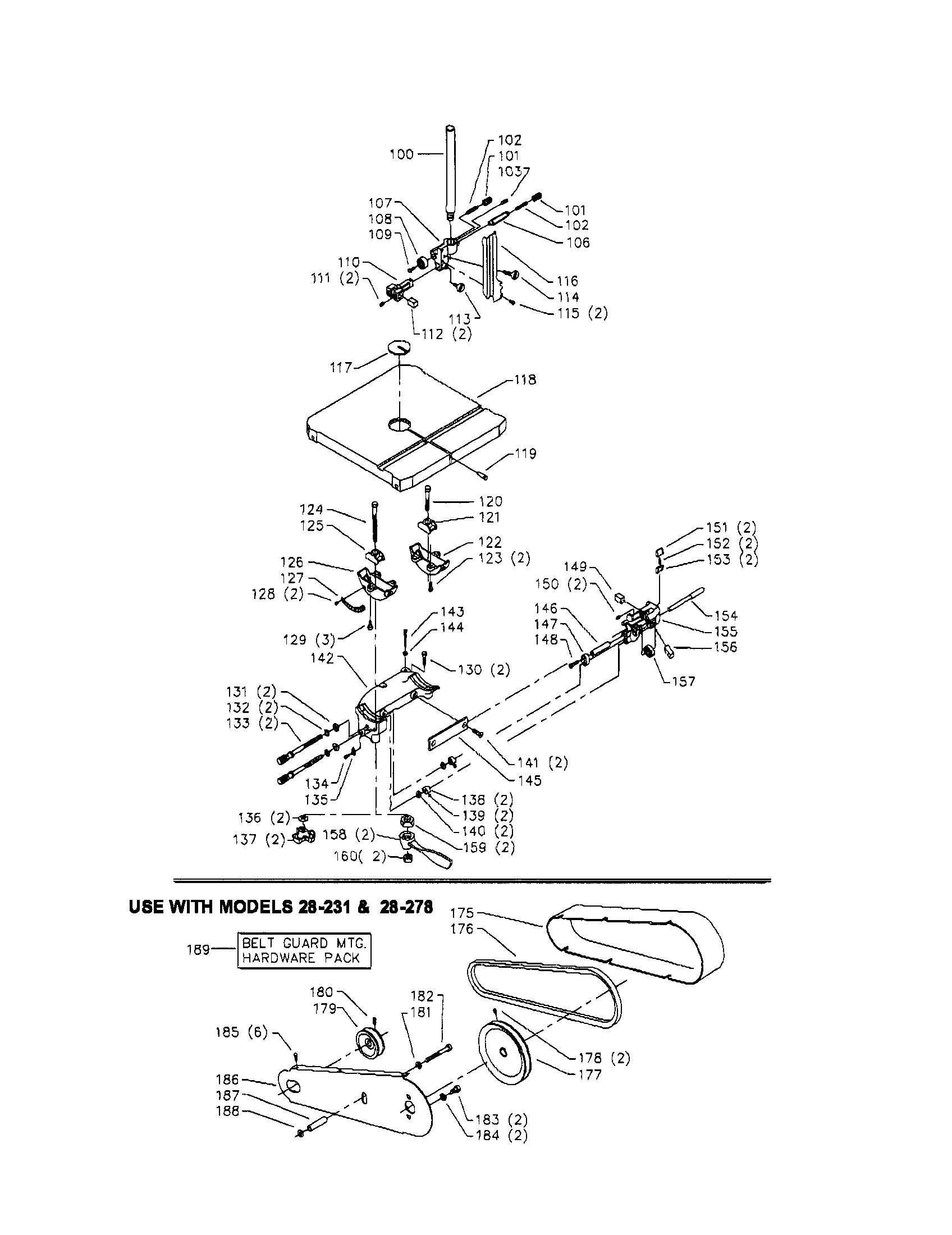 Delta model 28-278 band saw genuine parts