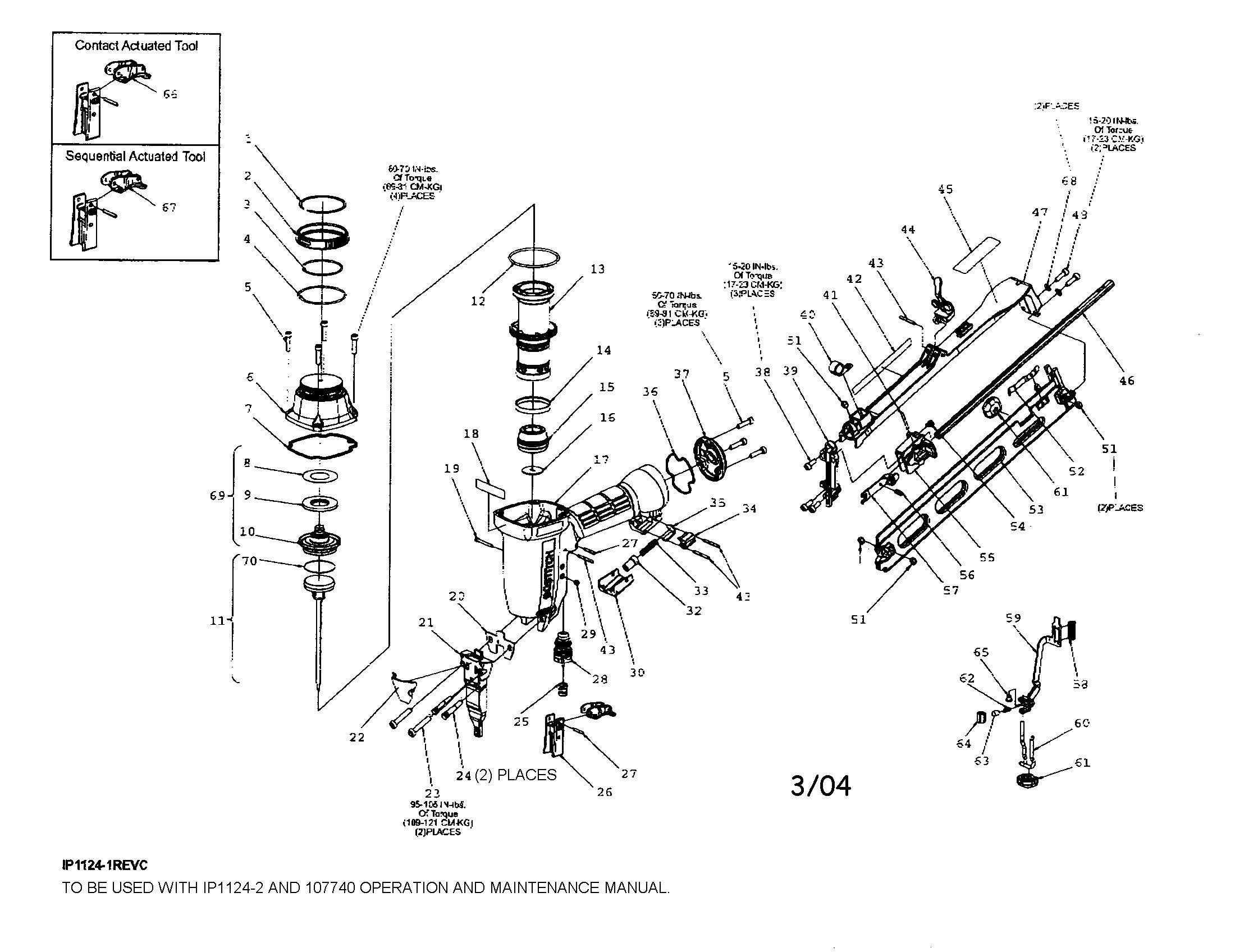 Stanley-Bostitch model N62FN nailer genuine parts
