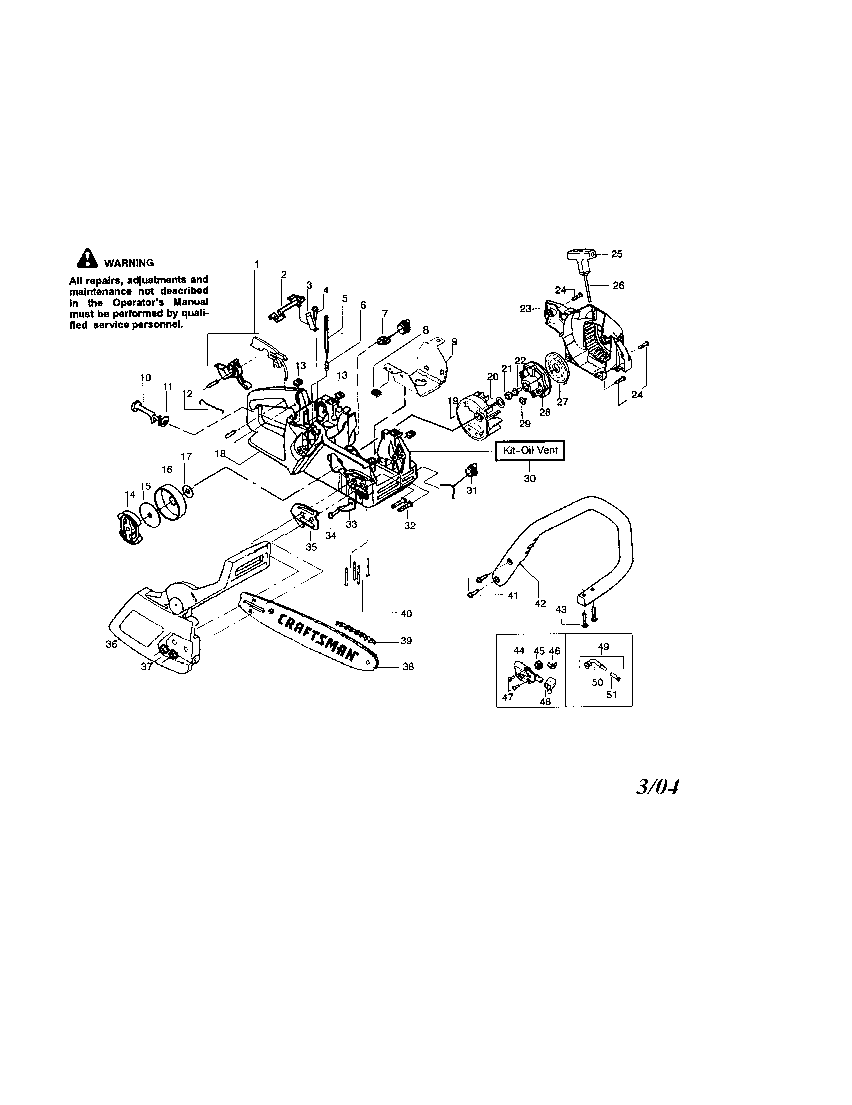 Craftsman model 358350660 chainsaw, gas genuine parts