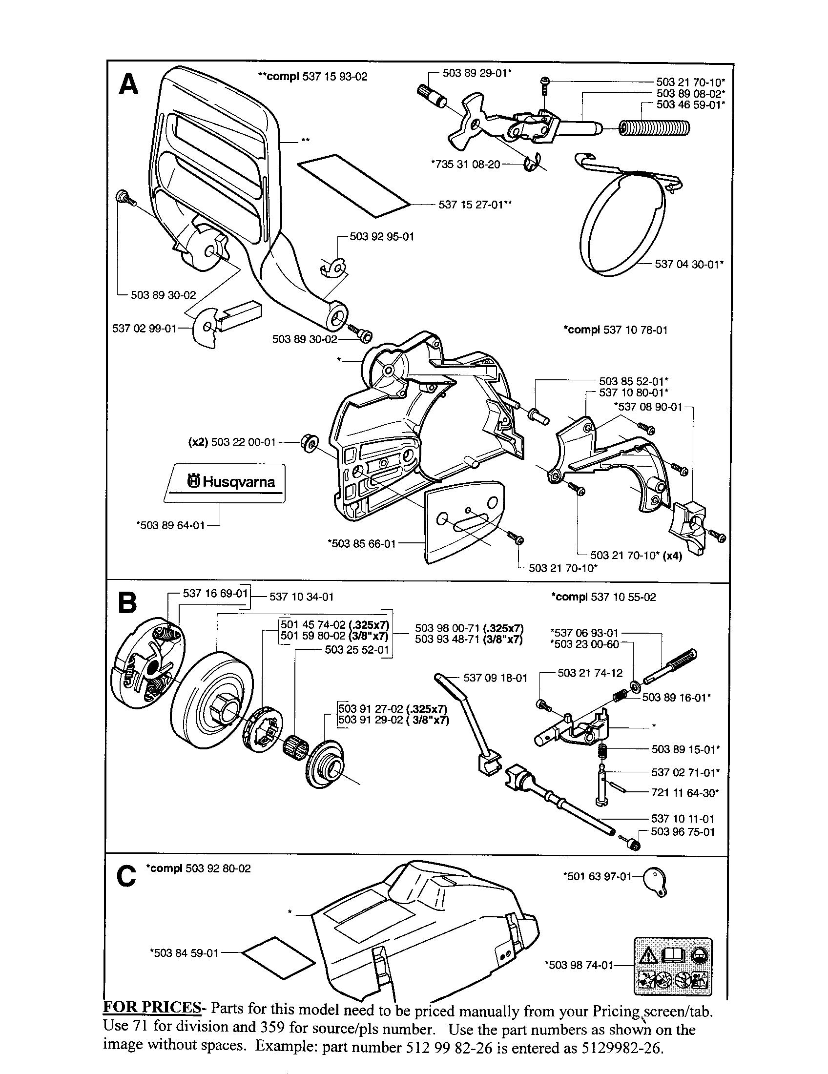 Husqvarna model 357XP EPA1 chainsaw, gas genuine parts