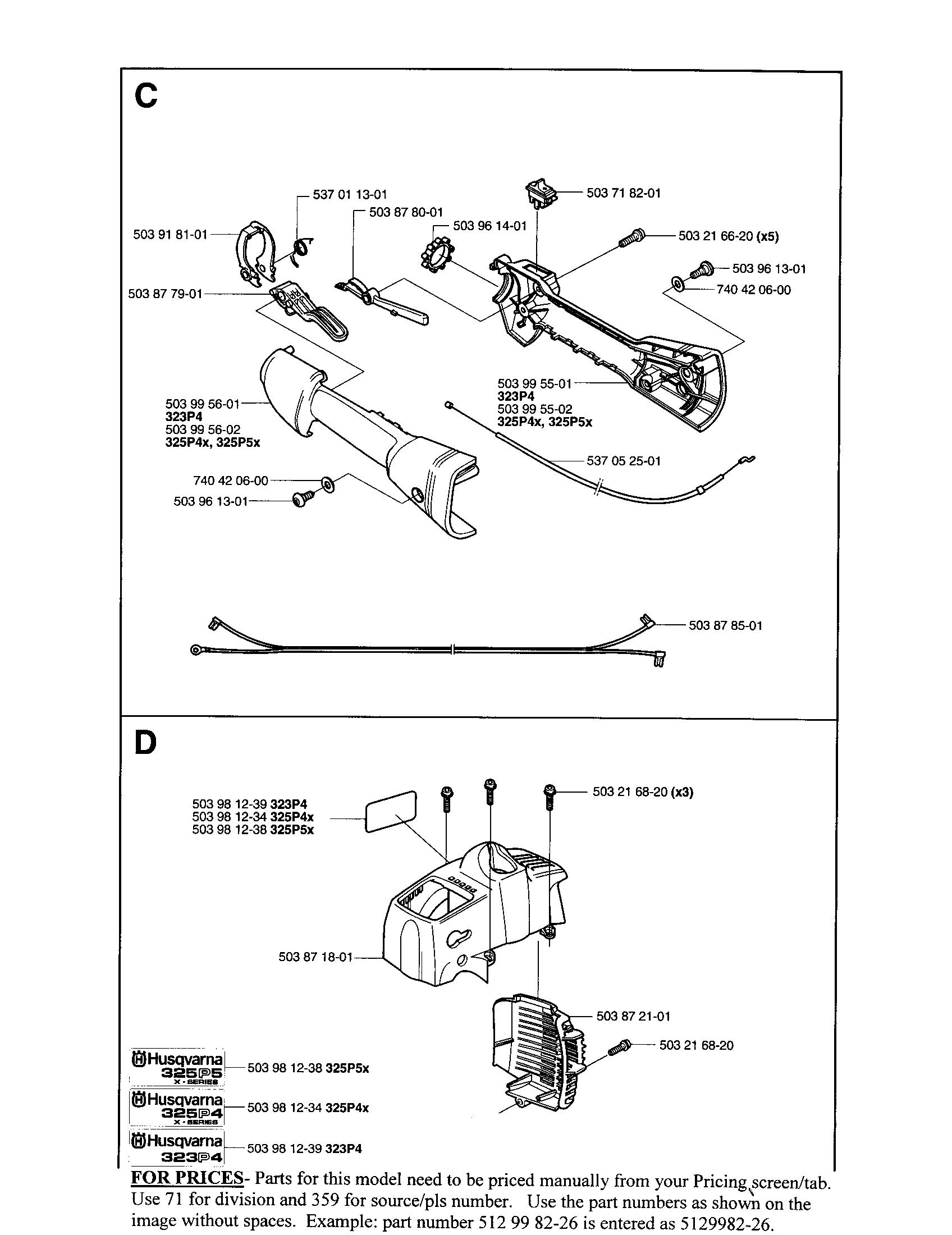 Husqvarna model 325P4 attachments, line trimmers