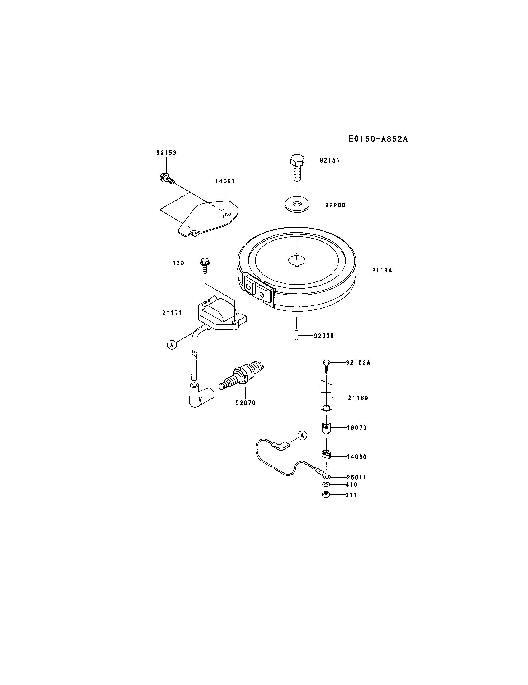 Kawasaki model FJ180V-BS04 engine genuine parts