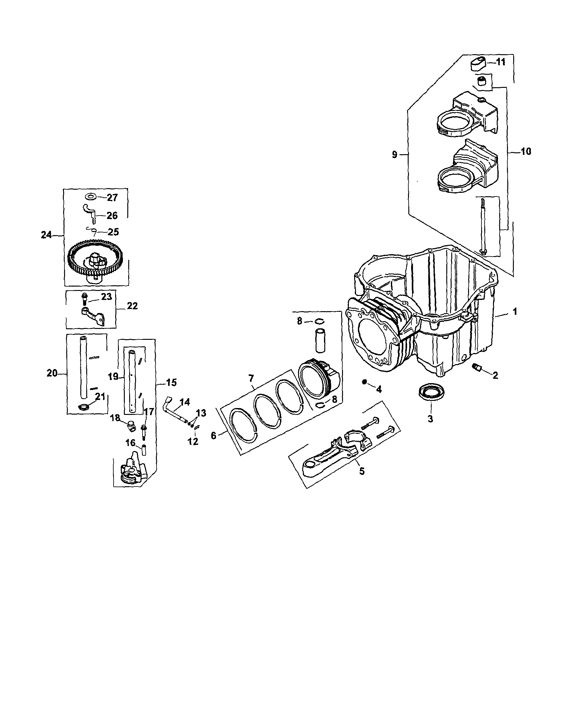 Kohler model SV600-0001 engine genuine parts