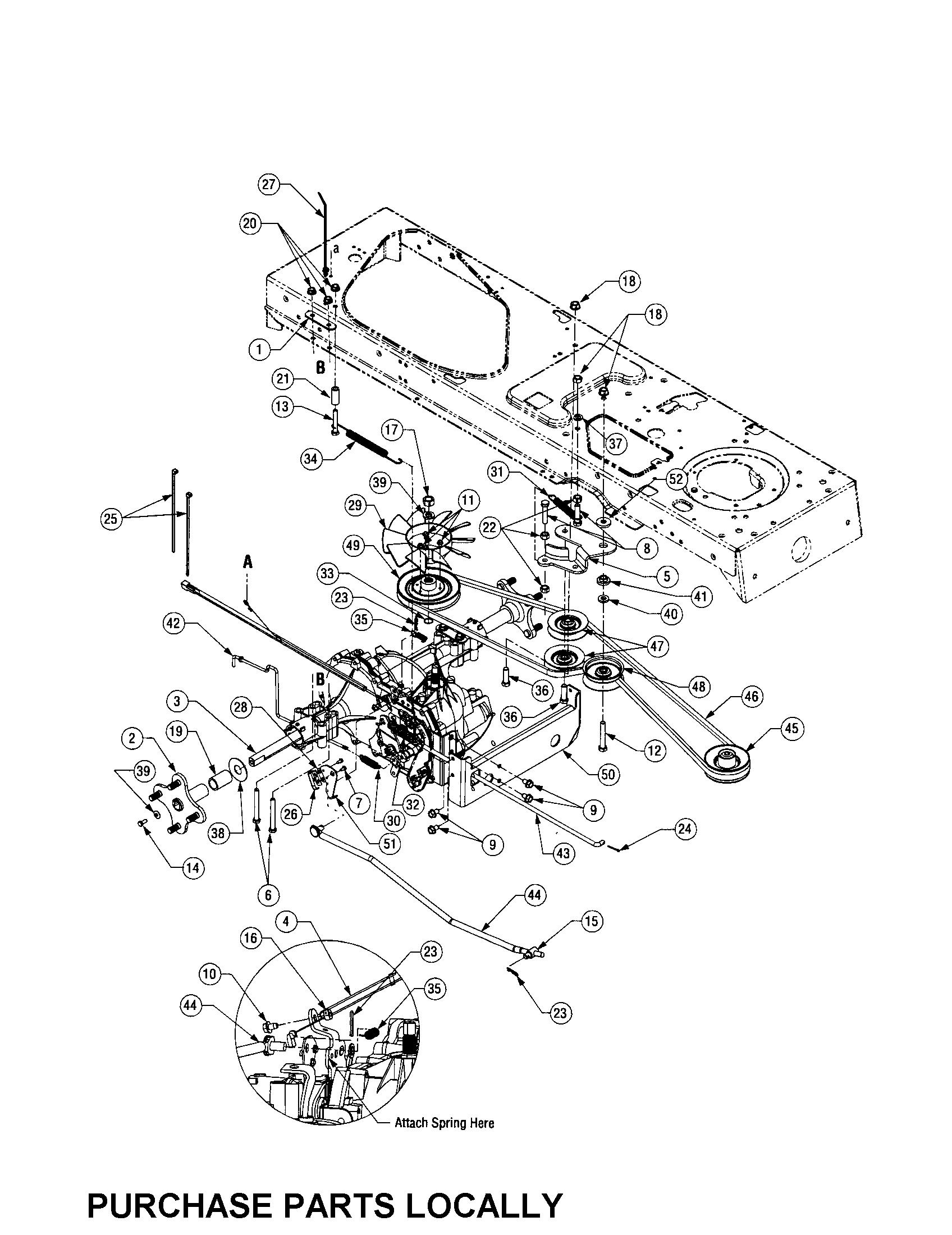 Cub-Cadet model LT1050 lawn, tractor genuine parts