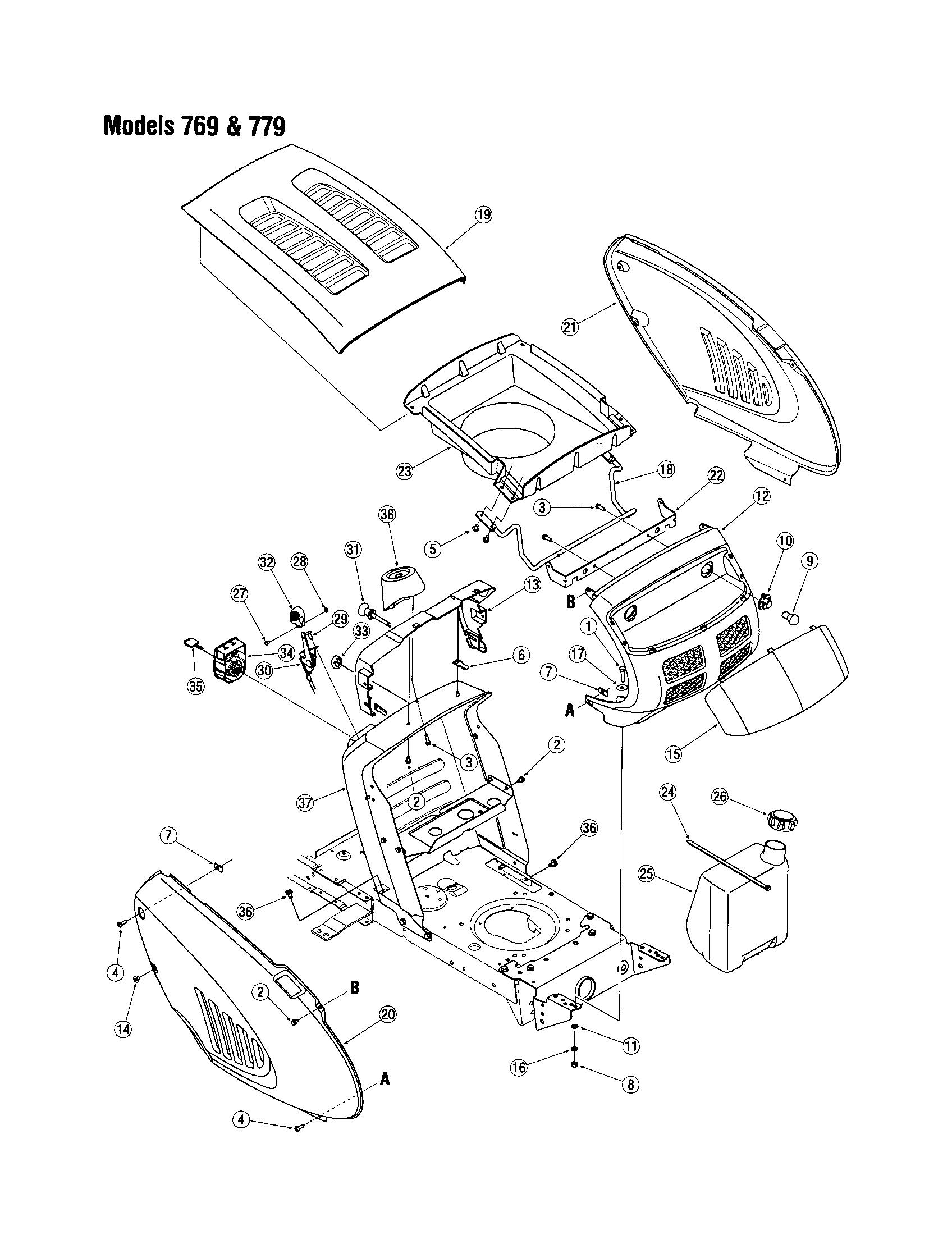 Mtd model 771 lawn, tractor genuine parts