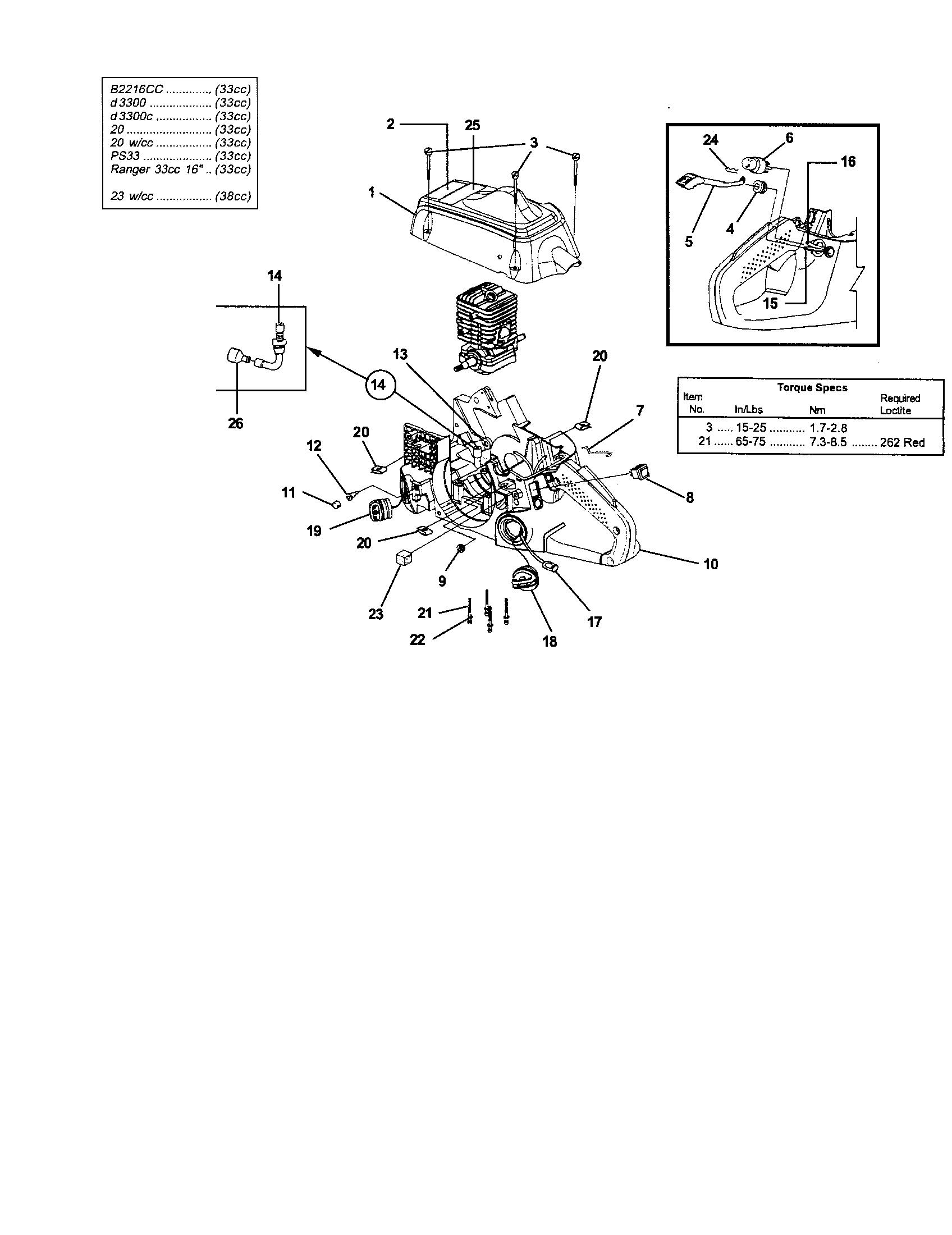 Homelite model UT10847 chainsaw, gas genuine parts