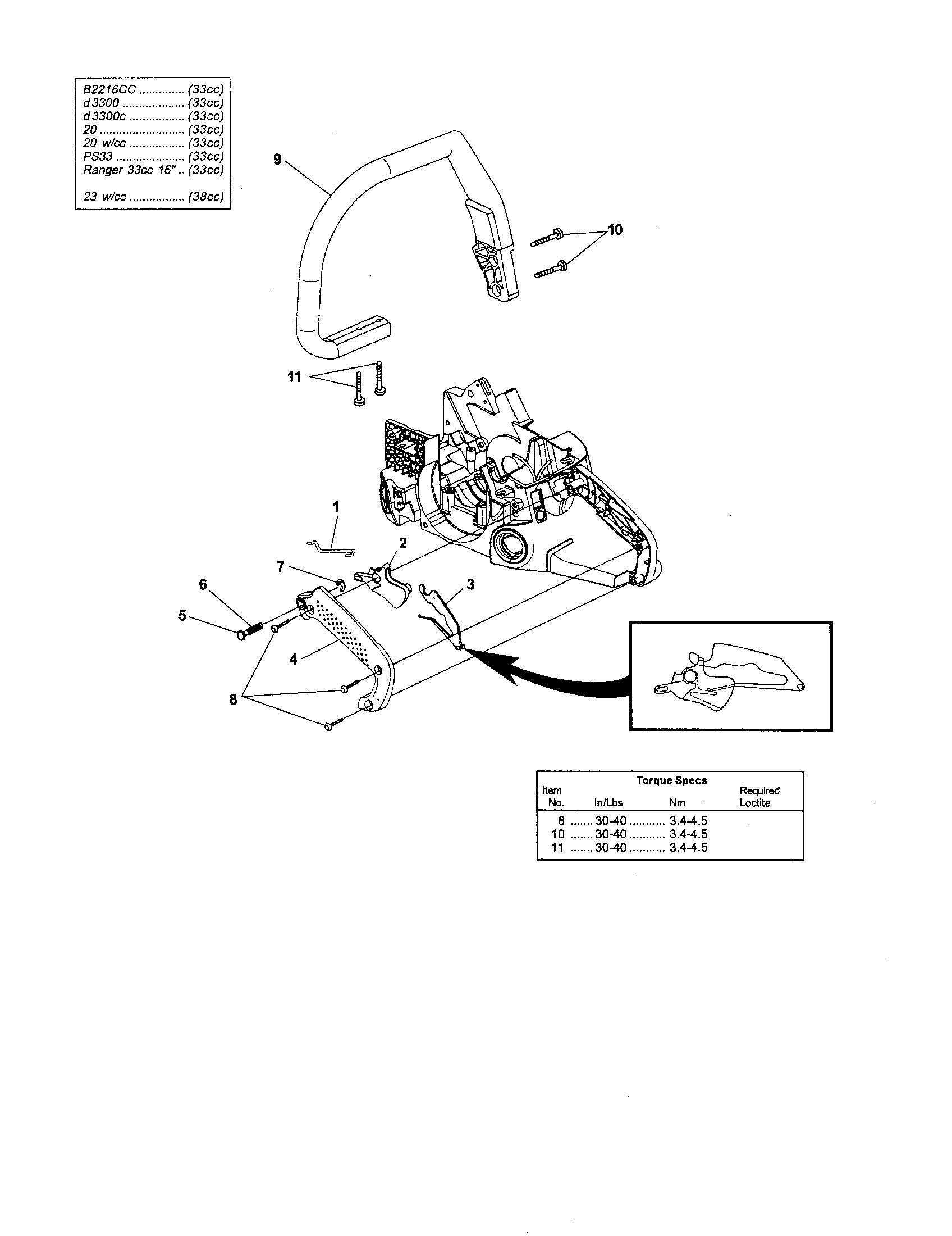 Homelite model UT10901A chainsaw, gas genuine parts