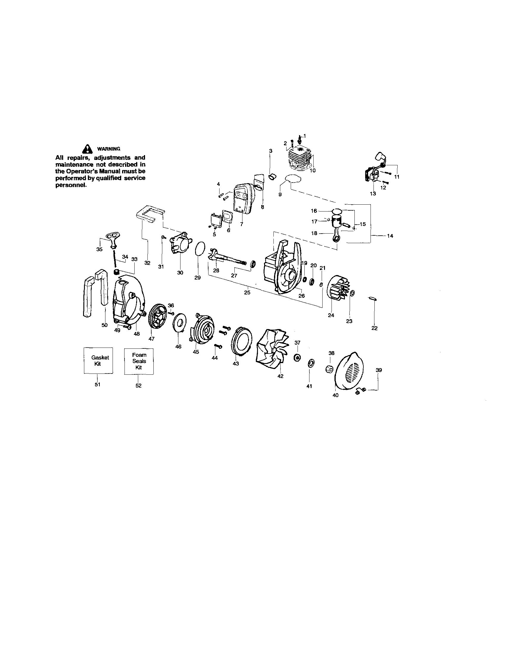 Poulan model PBV200LE blower, gas genuine parts