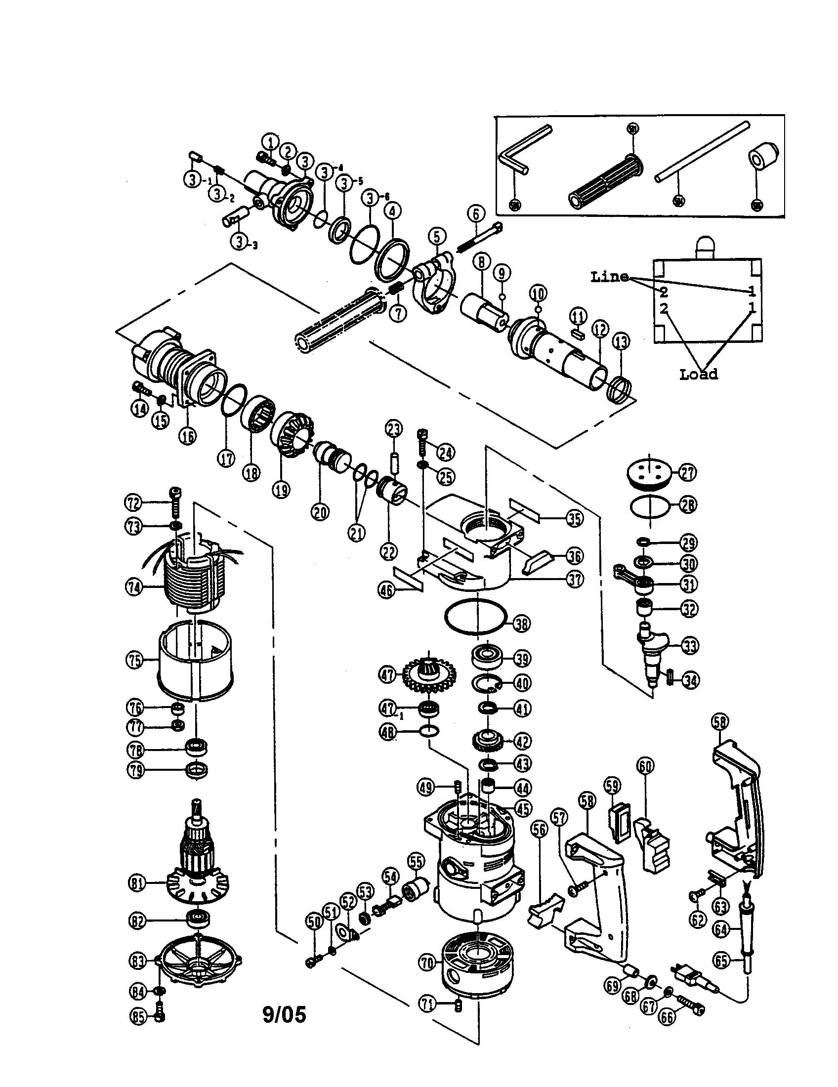 Ryobi model ED-382P rotary hammer genuine parts