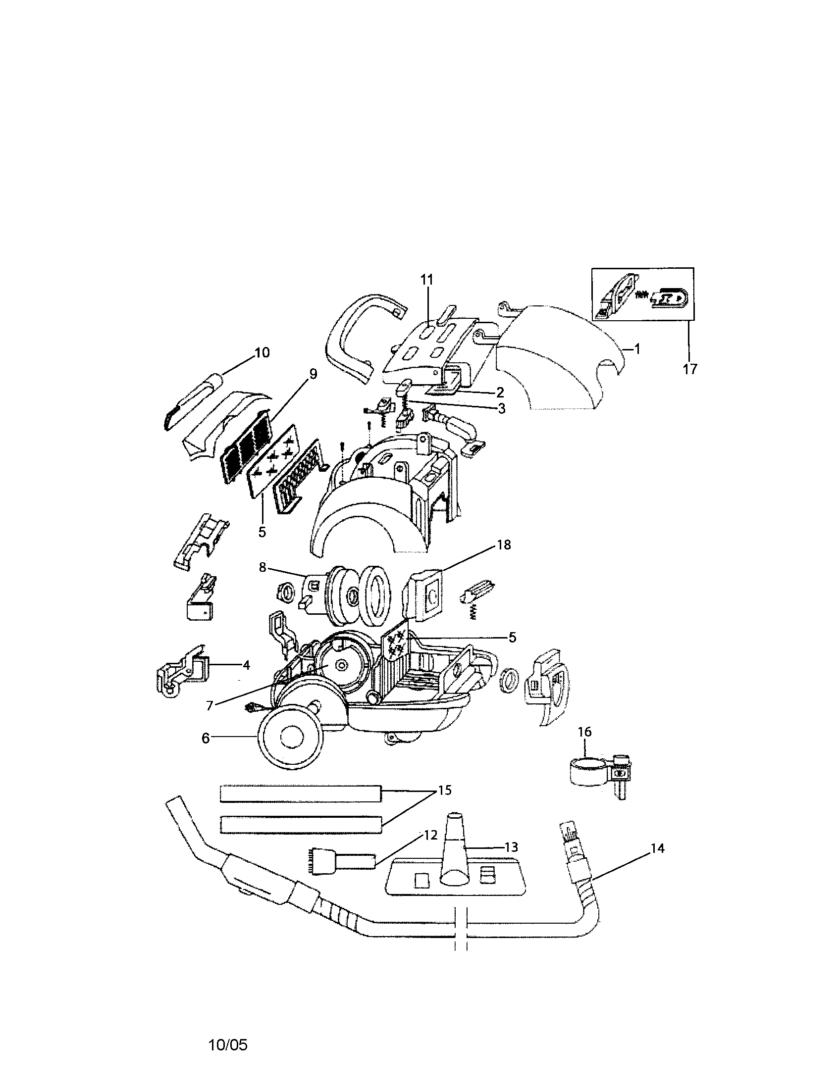 Bissell model 3580 vacuum, canister genuine parts