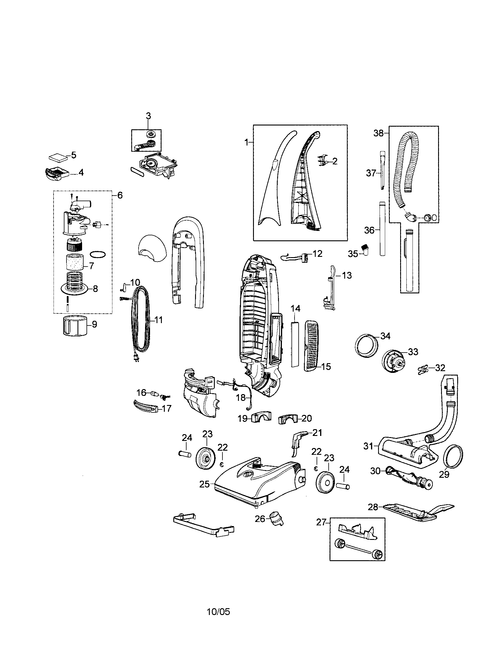 Bissell model 8975 vacuum, upright genuine parts