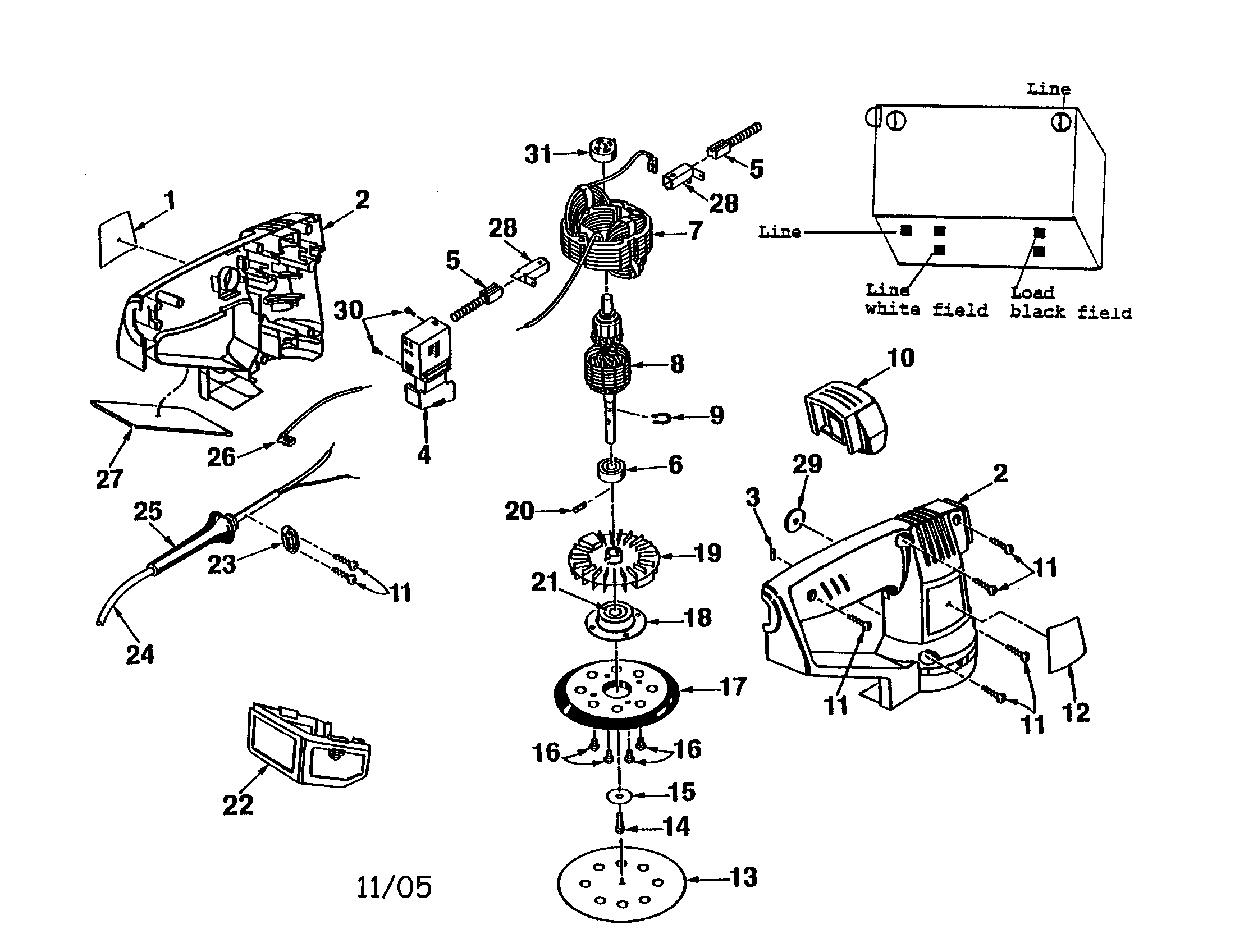 Ryobi model RS-115 sander genuine parts