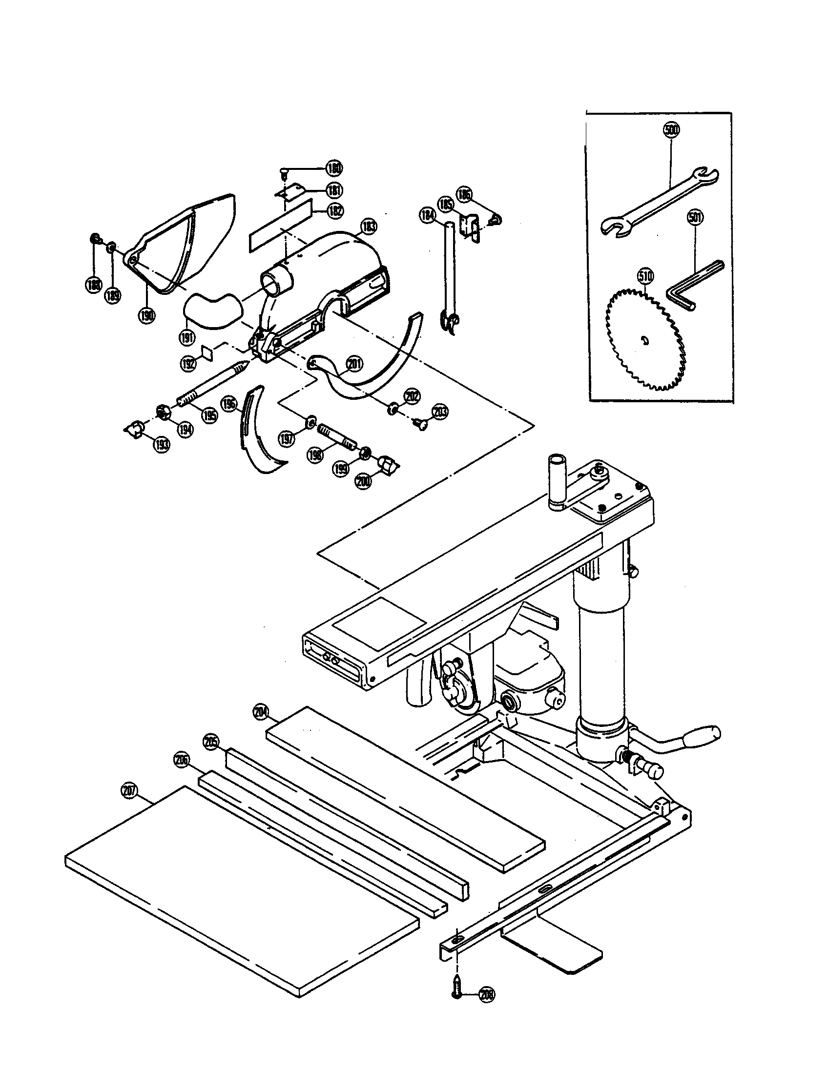Ryobi model RA-200 saw radial genuine parts