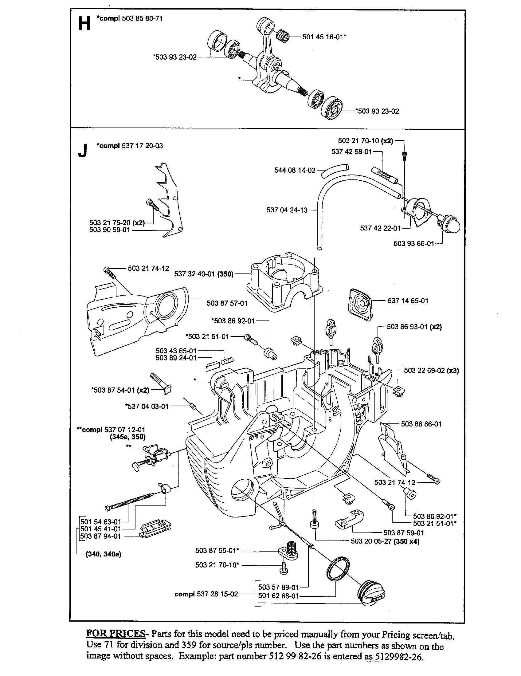 Husqvarna model 340 chainsaw, gas genuine parts
