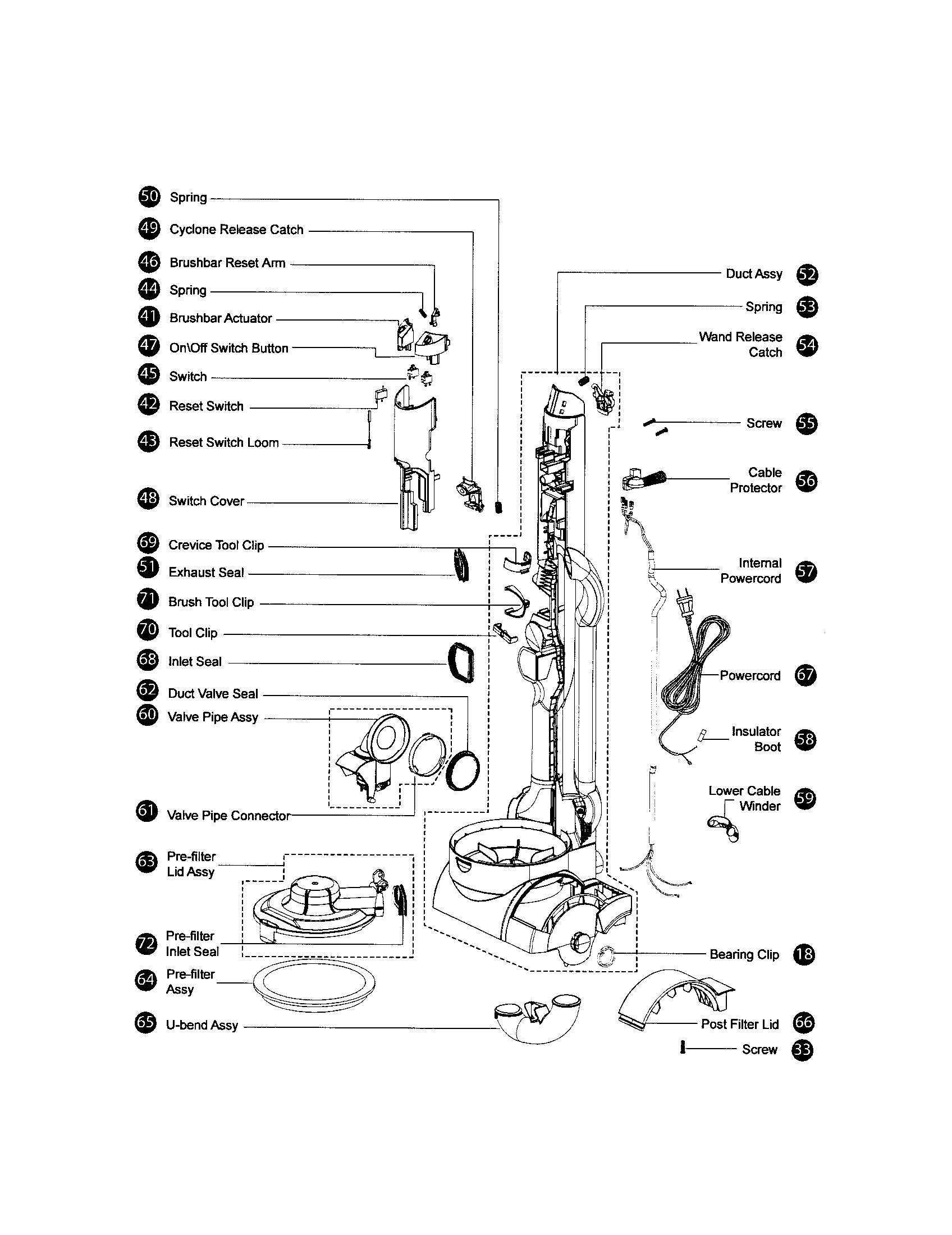 Dyson model DC17 vacuum, upright genuine parts