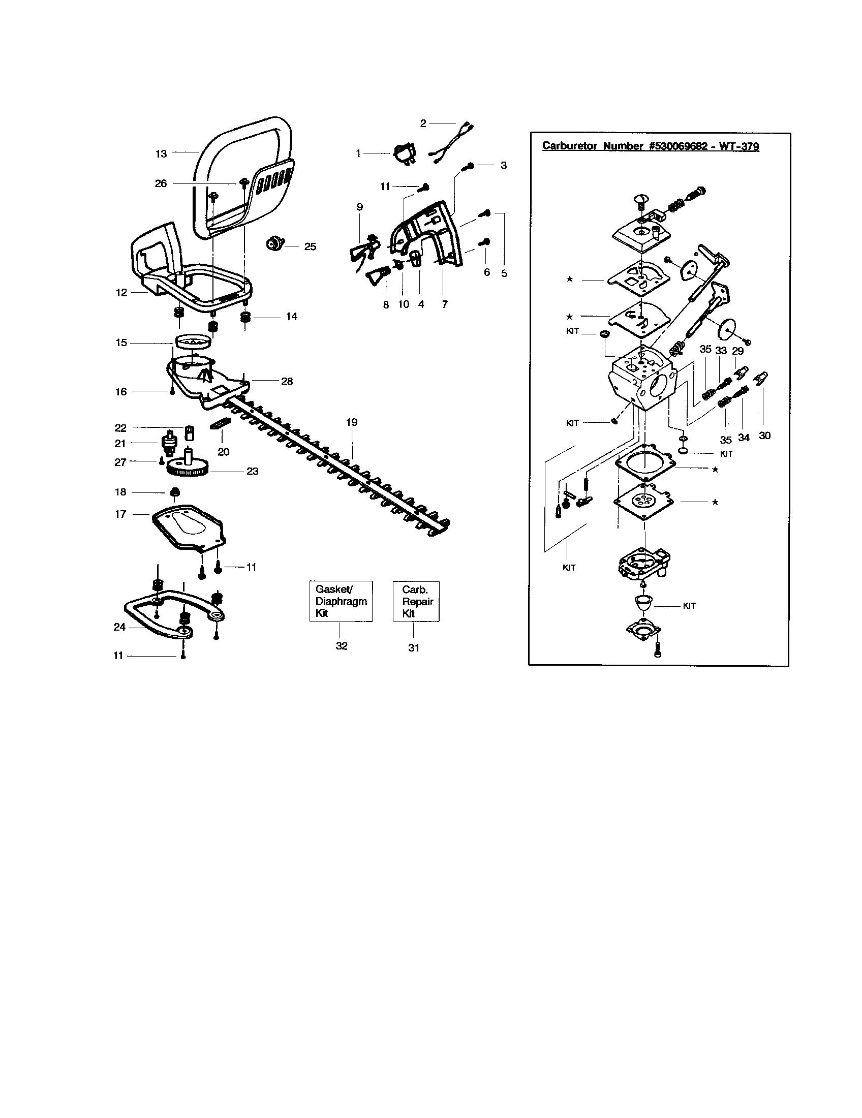 Craftsman model 358795631 hedge trimmer, gas genuine parts