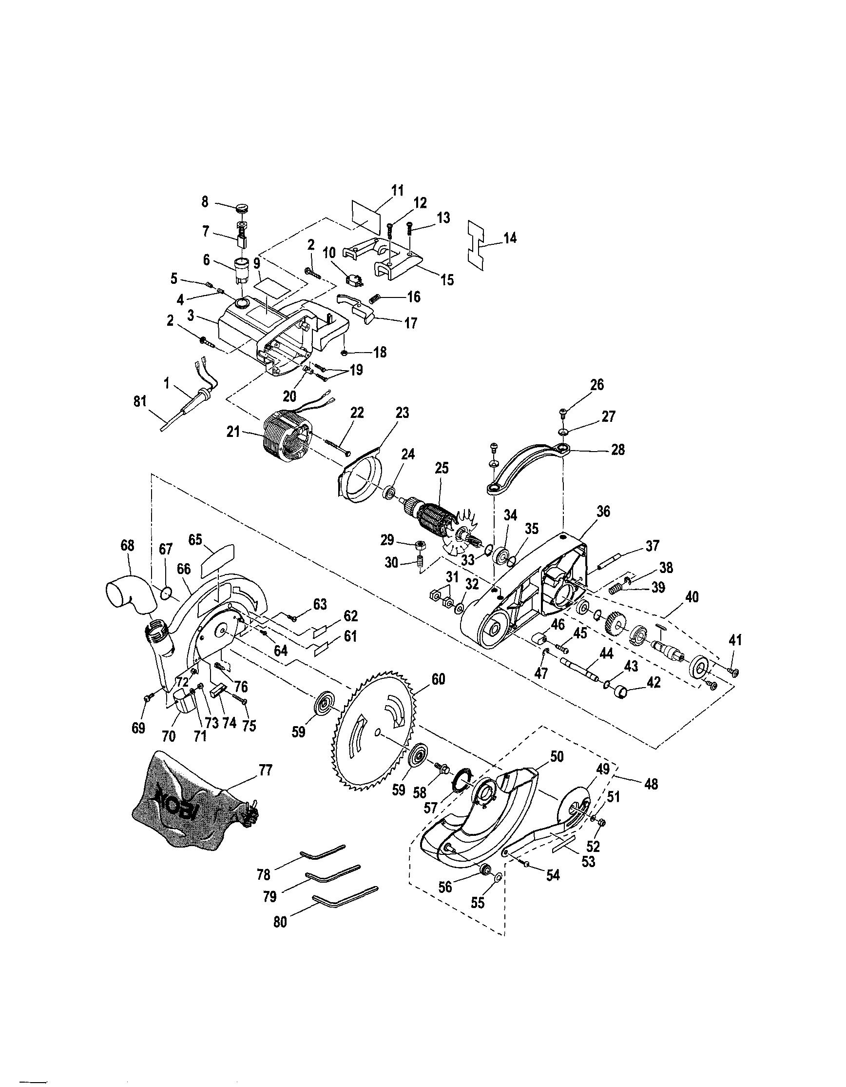 Ryobi model TS1340 miter saw genuine parts