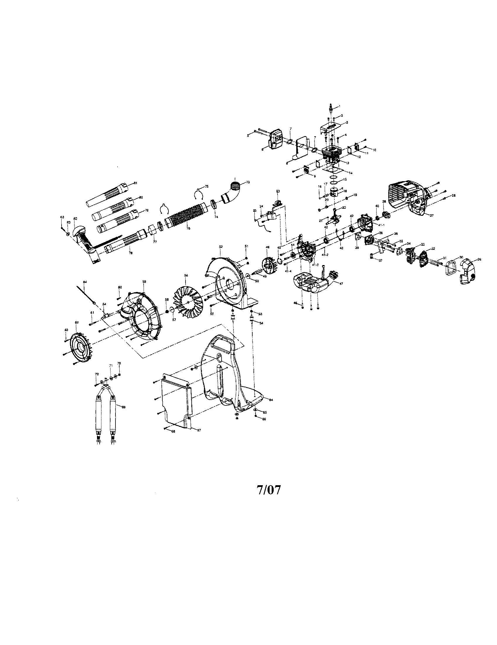 Craftsman model 316794990 blower, gas genuine parts