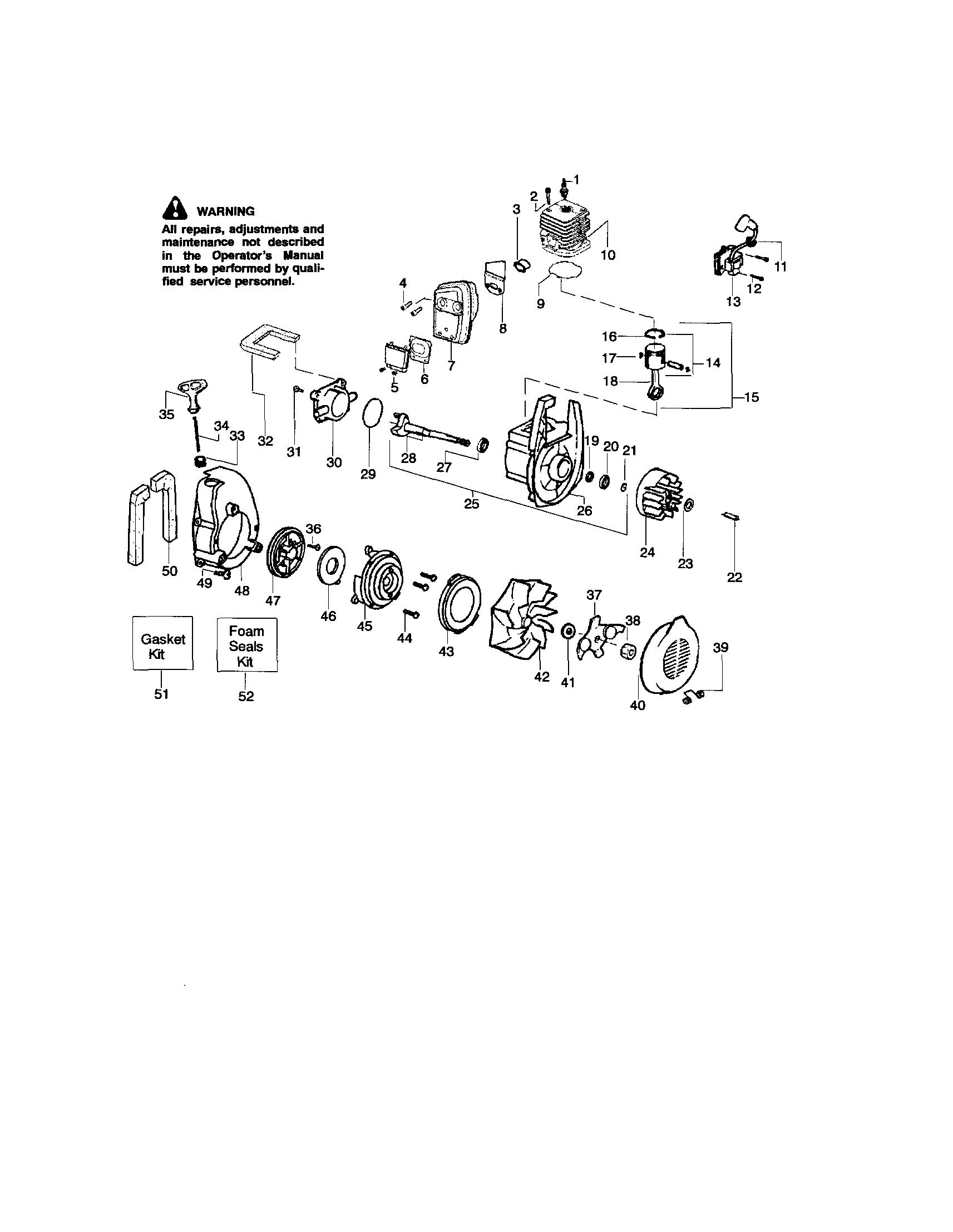 Craftsman model 358794960 blower, gas genuine parts