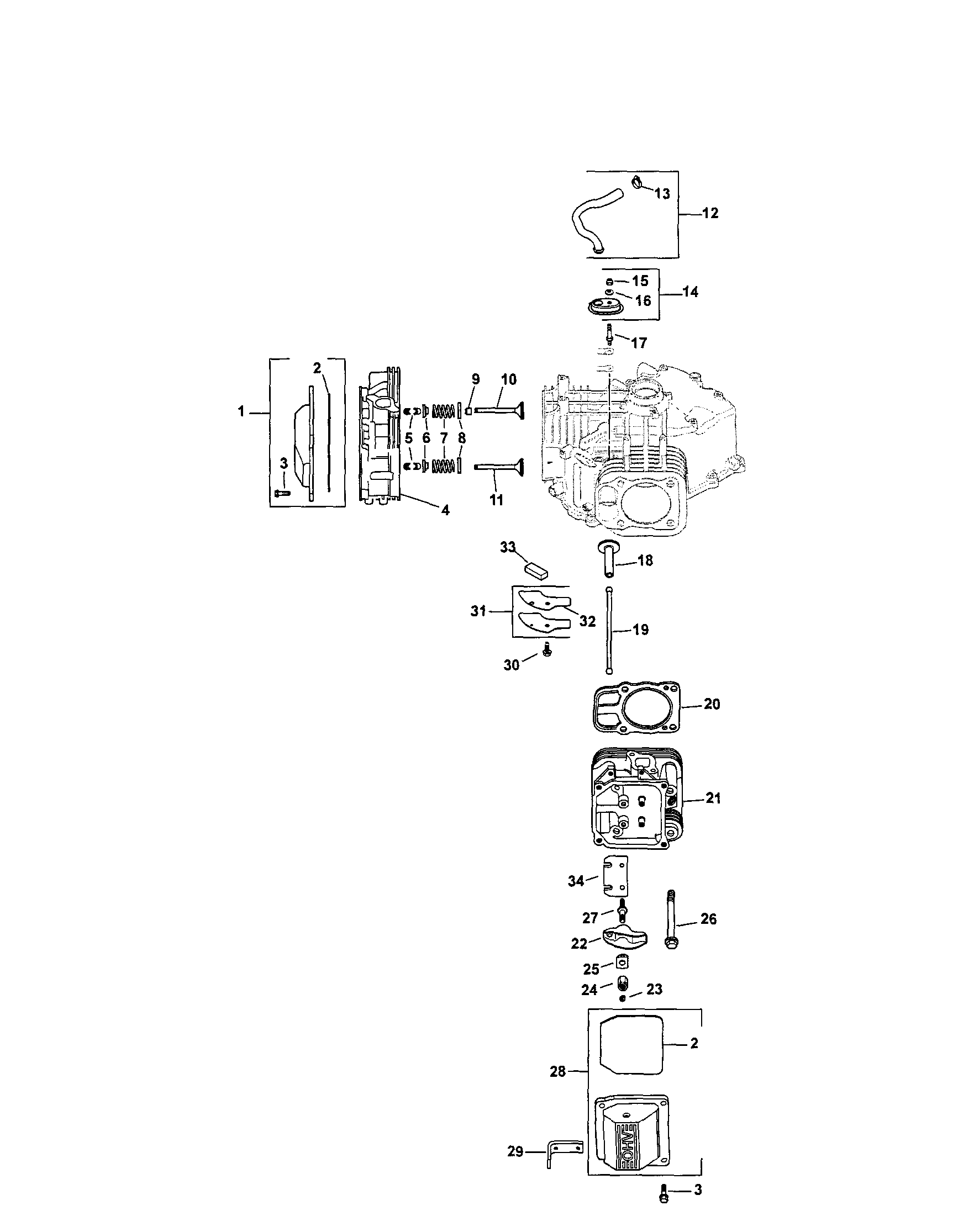 Kohler model SV725-0011 engine genuine parts
