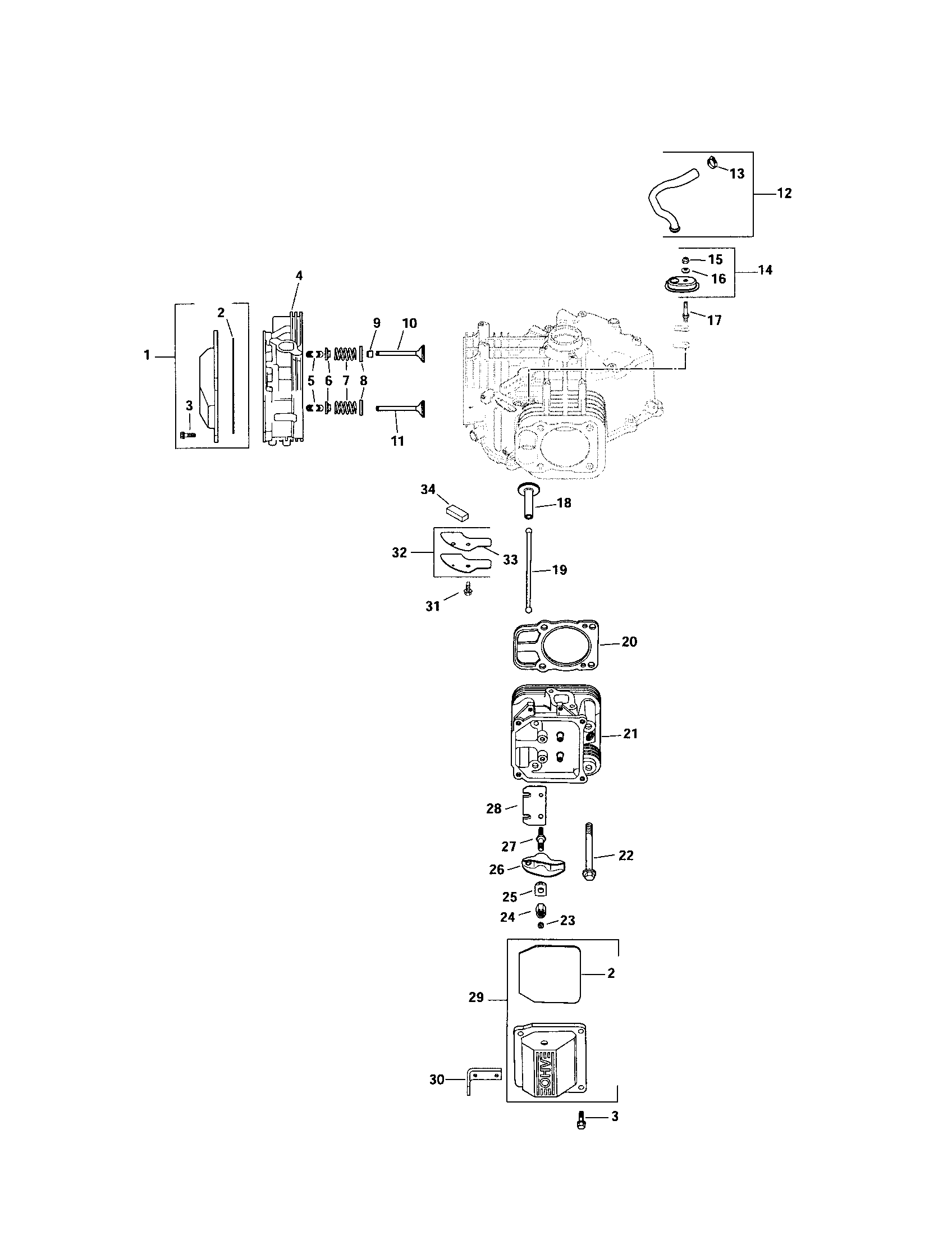 Kohler model SV735-0018 engine genuine parts