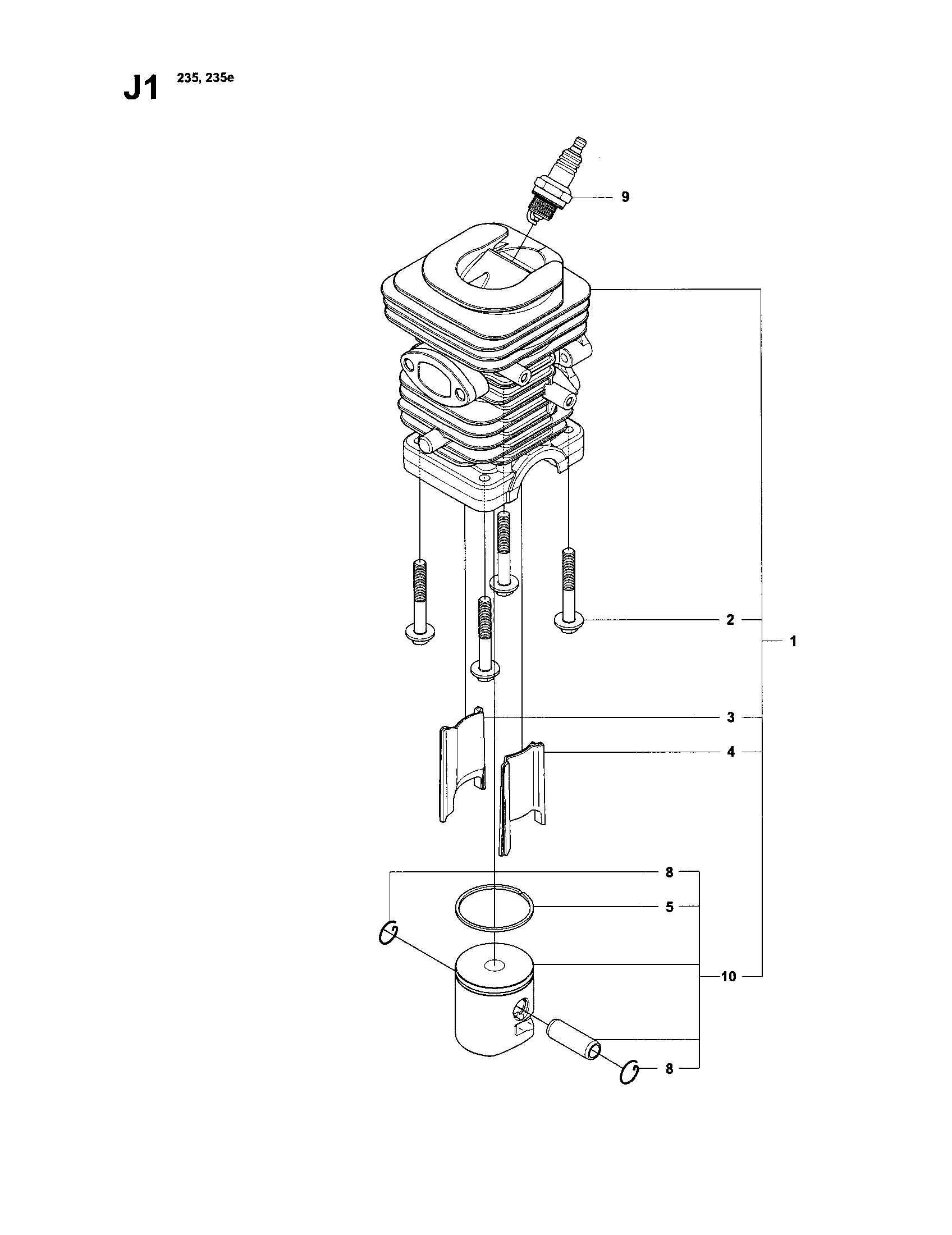 Husqvarna model 240 chainsaw, gas genuine parts