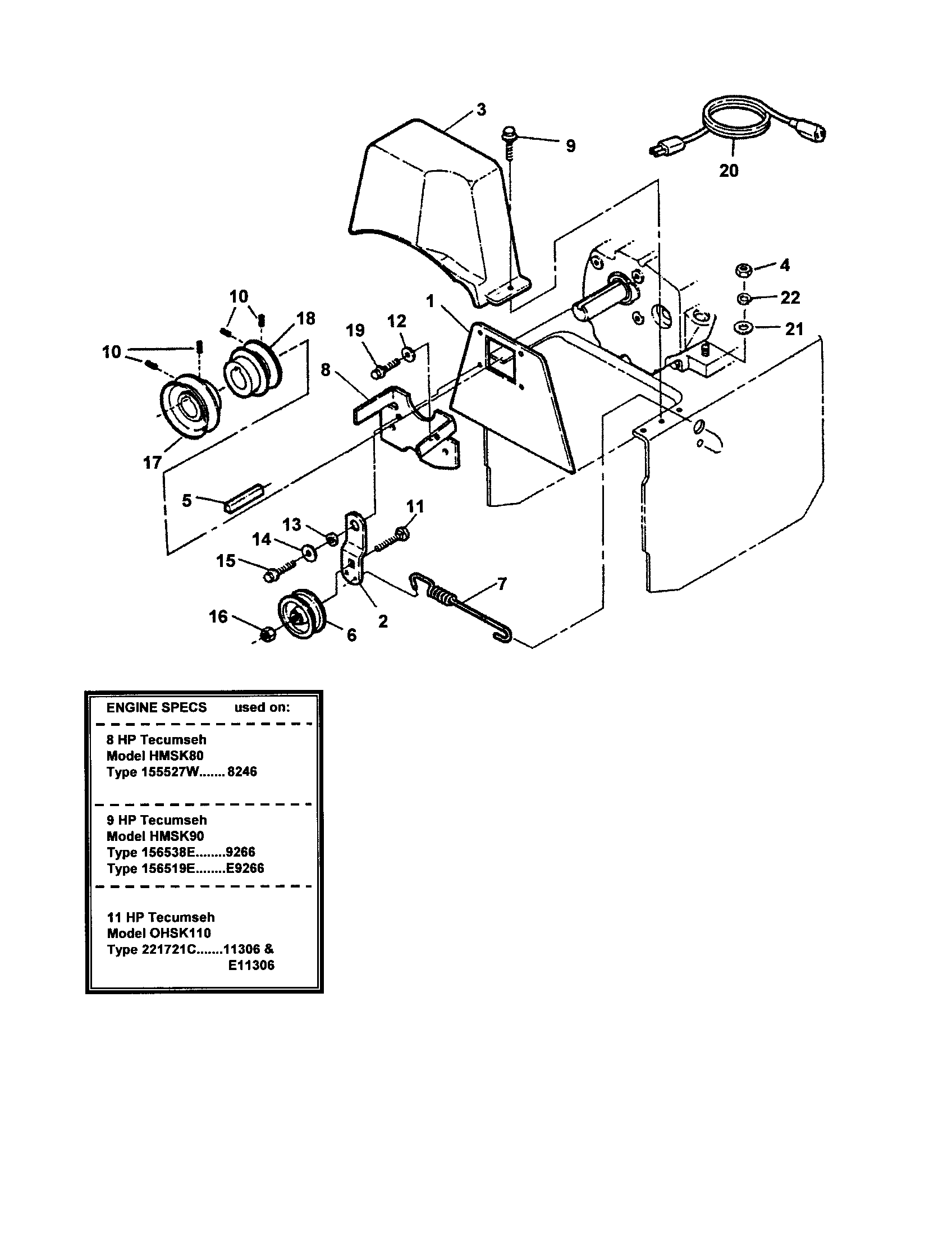 Snapper model 9266E snowthrower, gas genuine parts