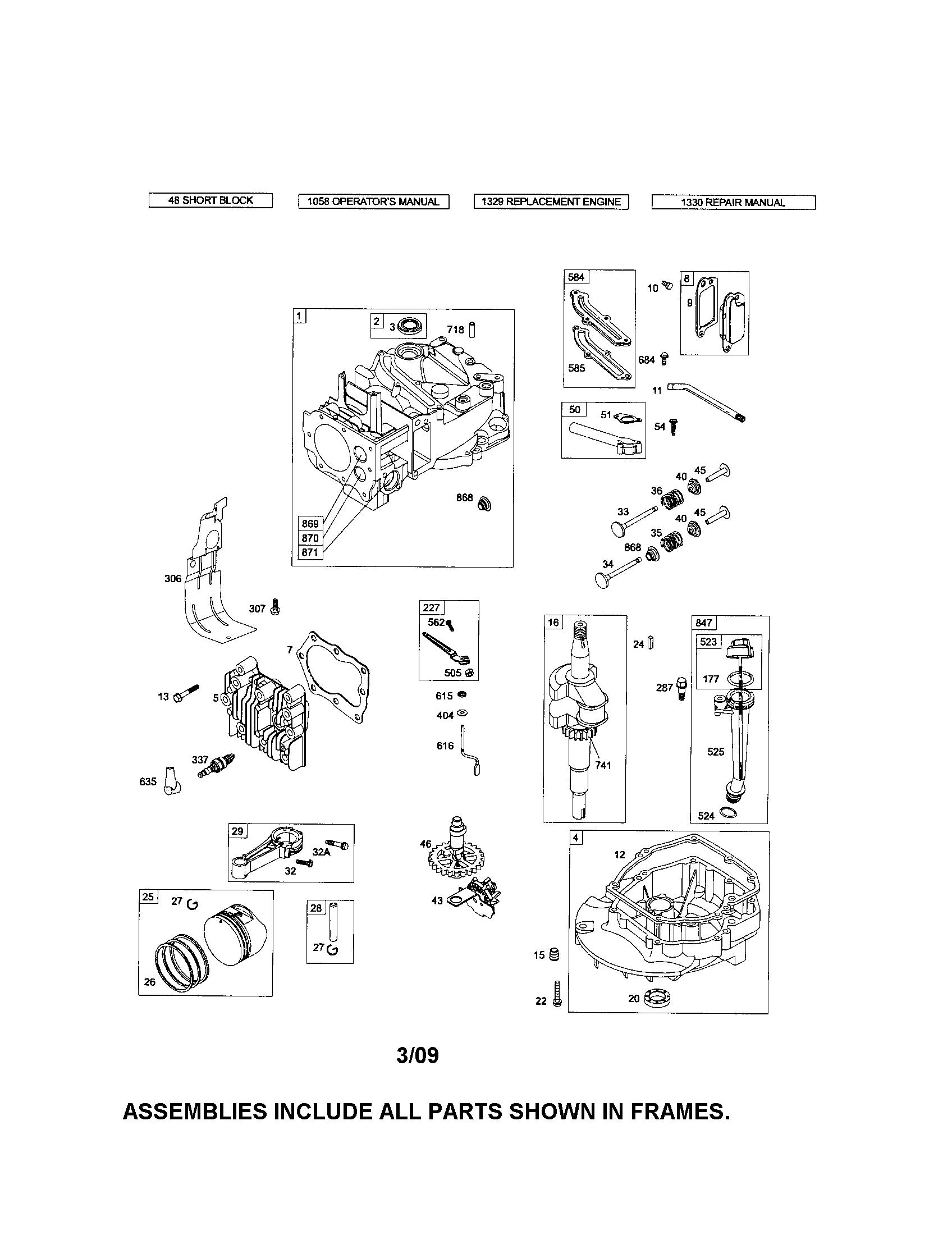 Briggs-Stratton model 126T02-1350-B1 engine genuine parts