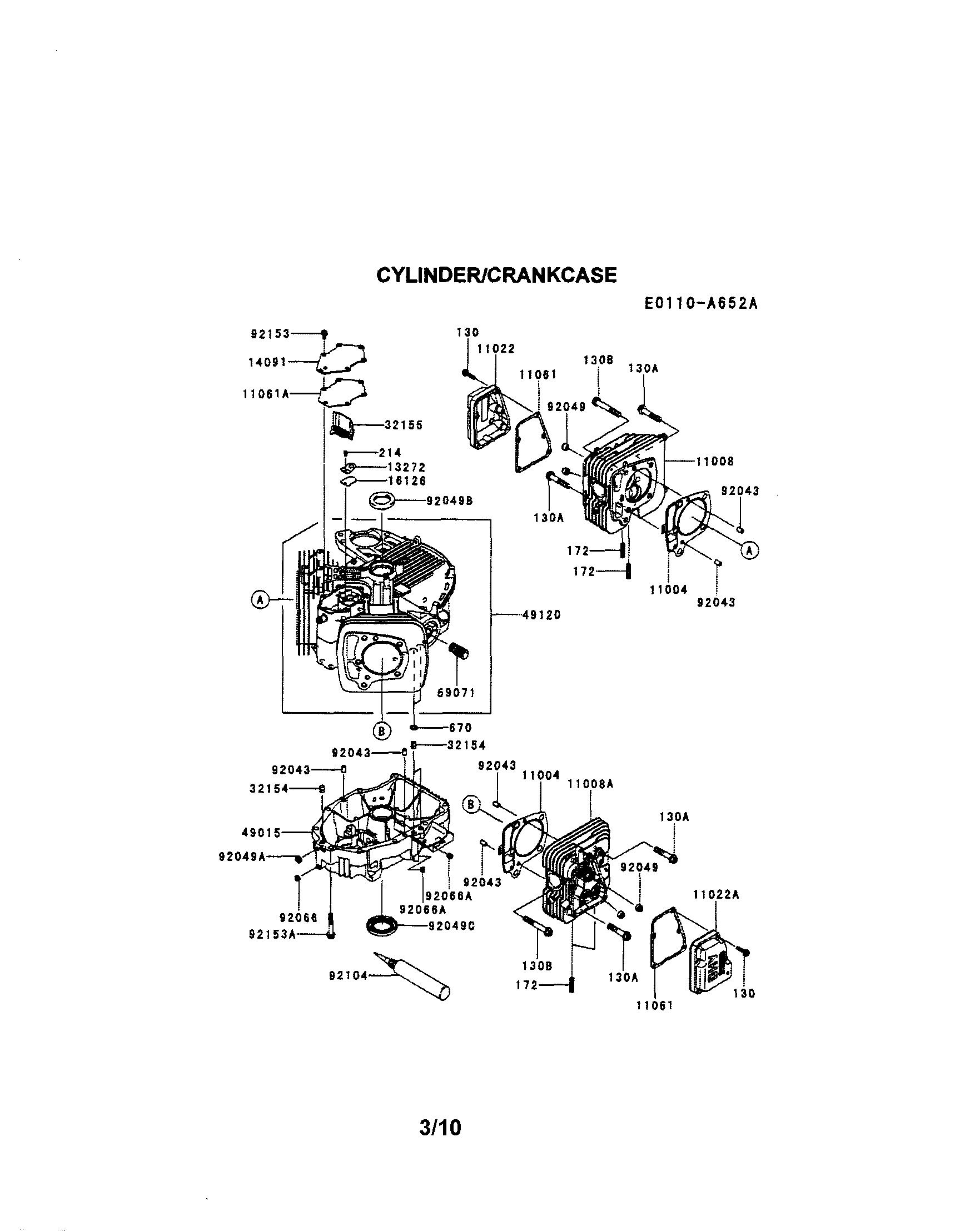 Kawasaki model FR691V-AS06 engine genuine parts