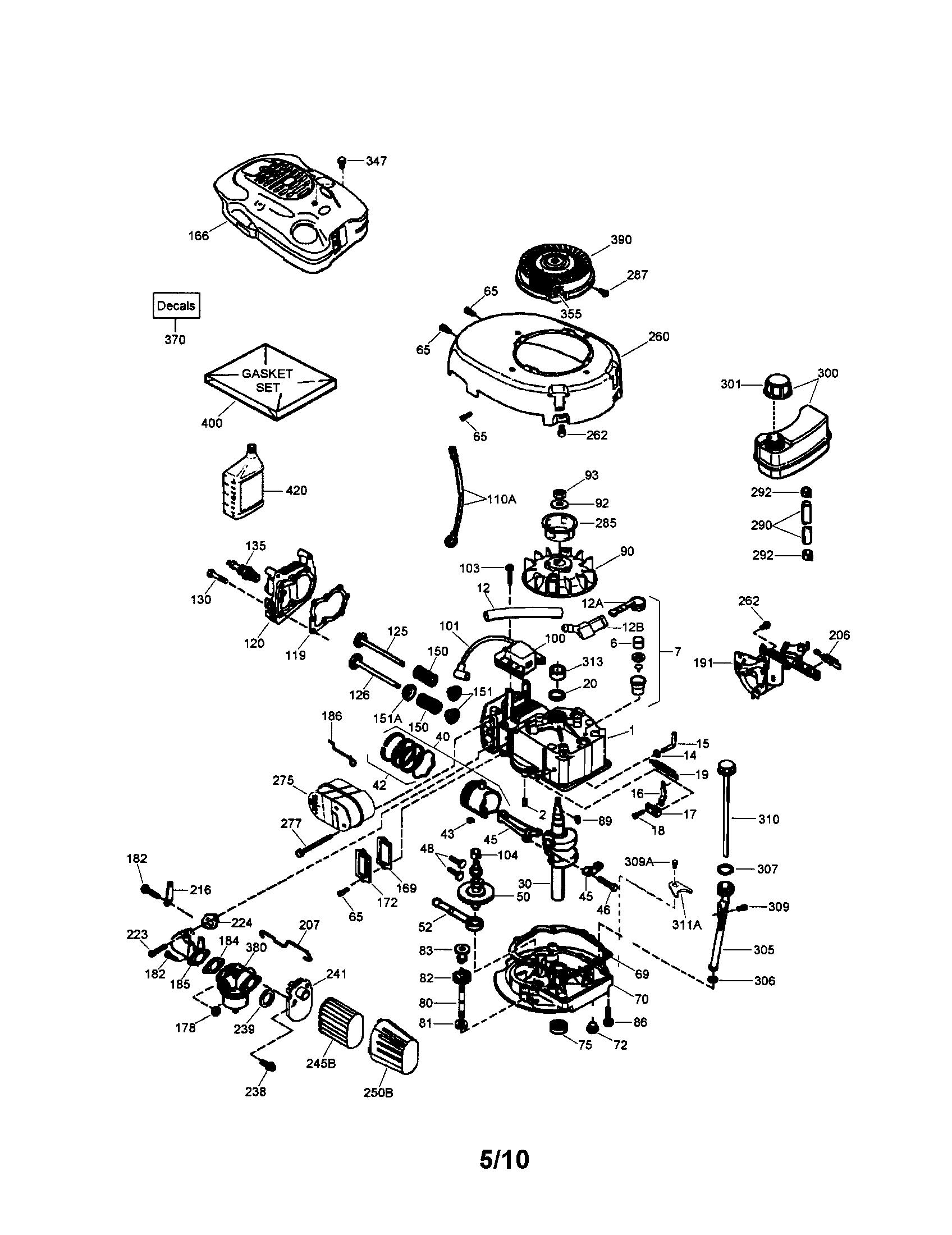 Tecumseh model LV195EA362089D engine genuine parts